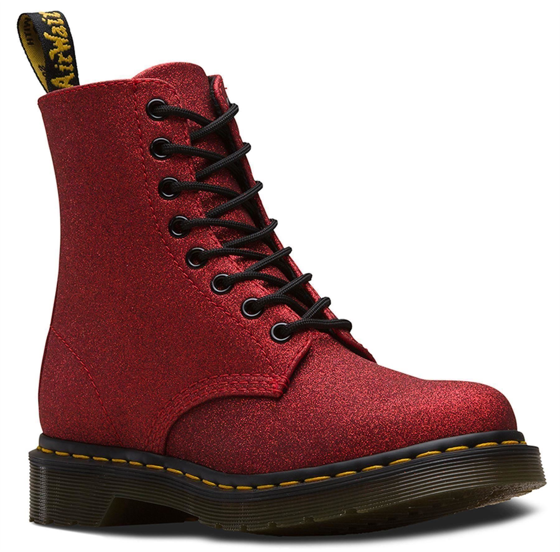 1b0ad7783082 Dr Martens 1460 Pascal Red Fine Glitter Ankle Boots | eBay