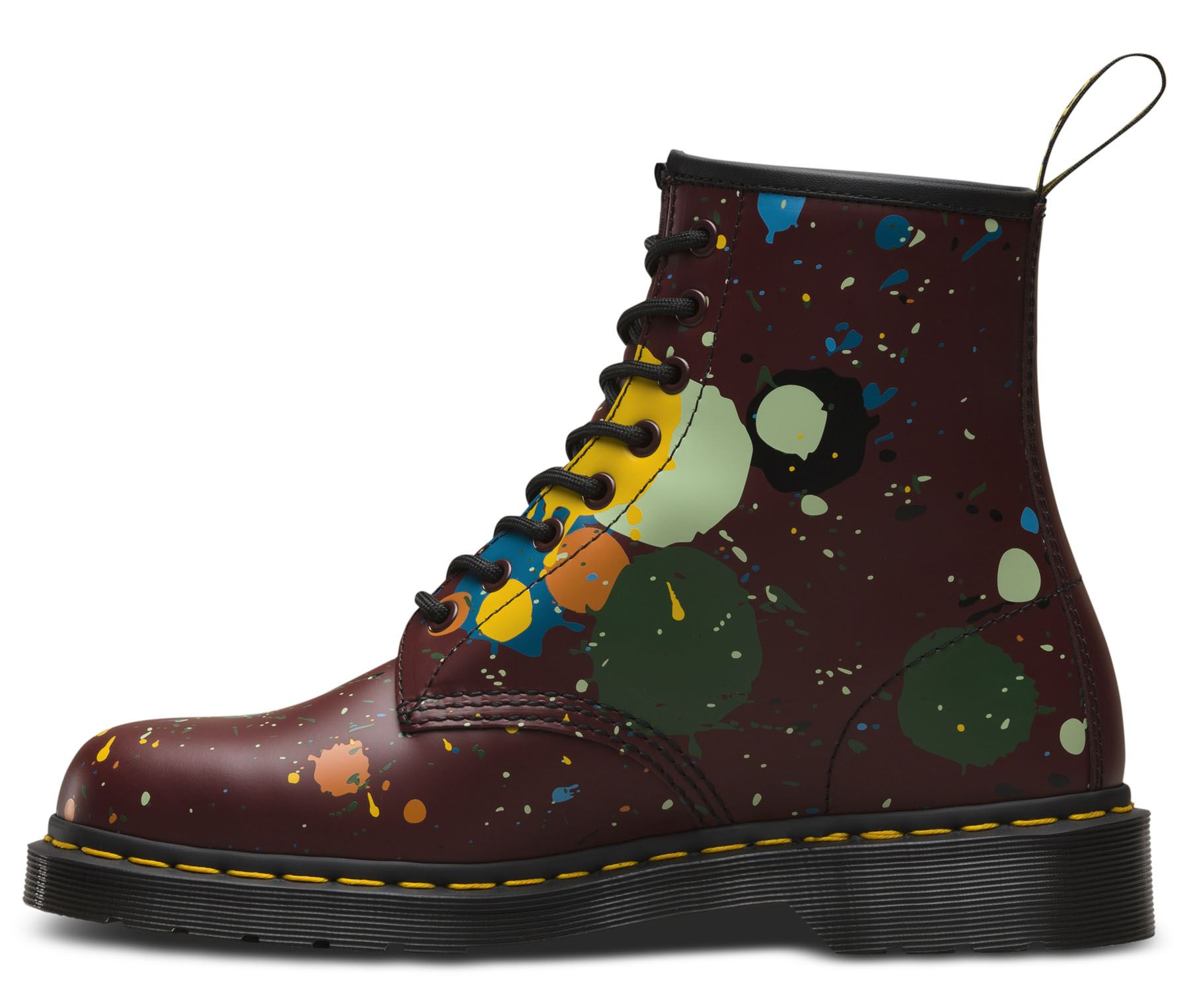 Dr Martens Paint Unisex 1460 Cherry Red Paint Martens Splatter Smooth Leather 8 Eye Boots a140cb
