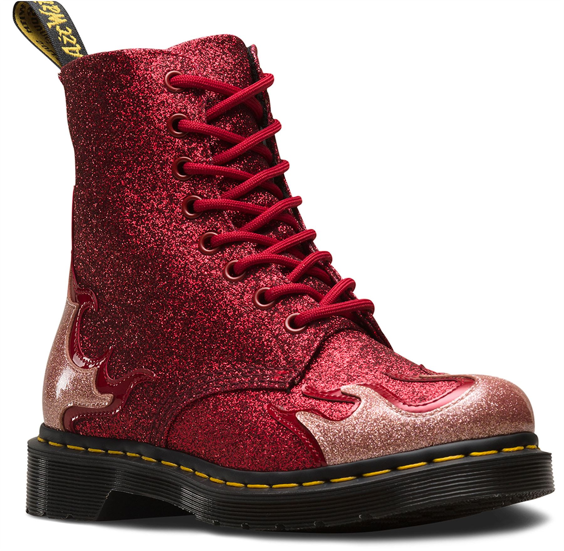 Dr Martens Pascal 1460 Flaming Glitter Stiefel Pink ROT Rockabilly Ankle Stiefel Glitter 281029