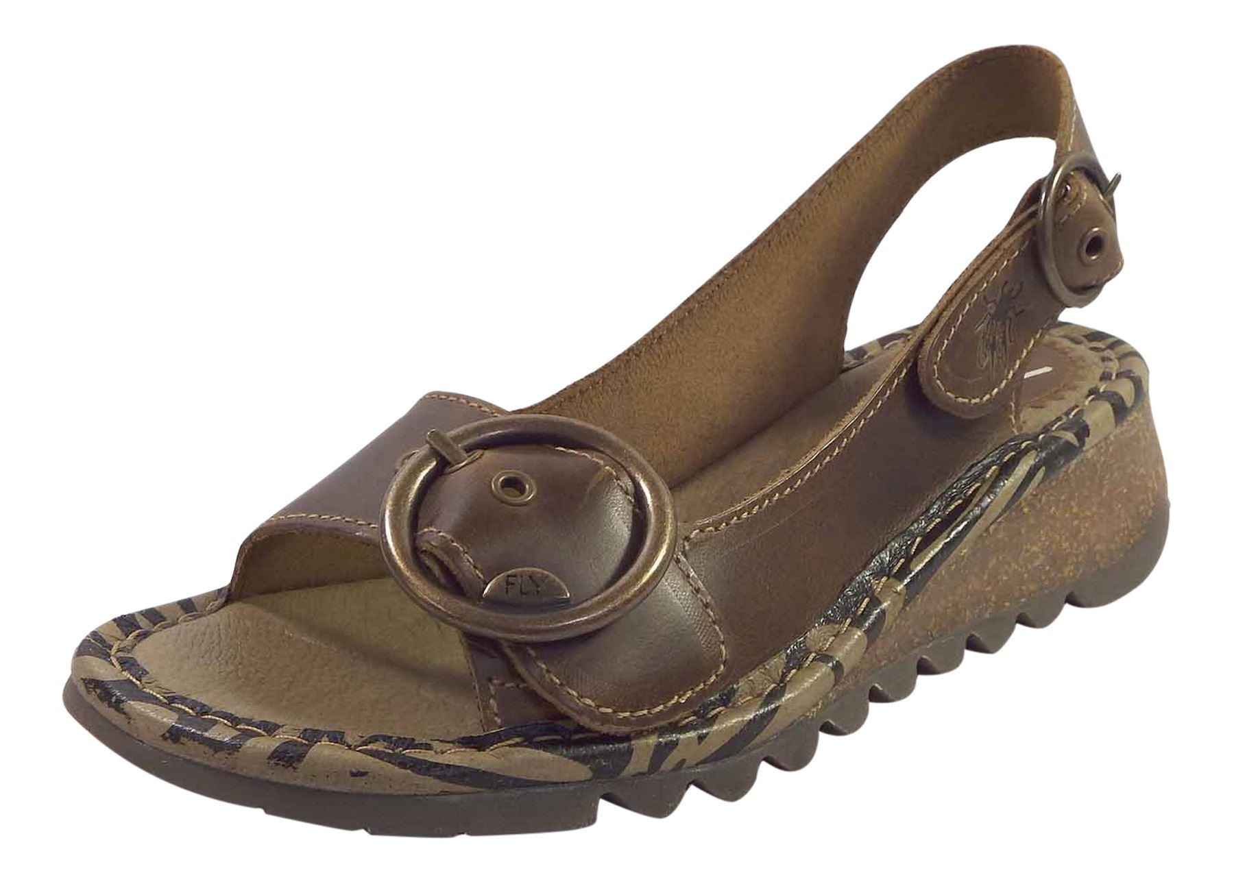 Fly London Ladies Tram723 Wedge Slingback Summer Sandals