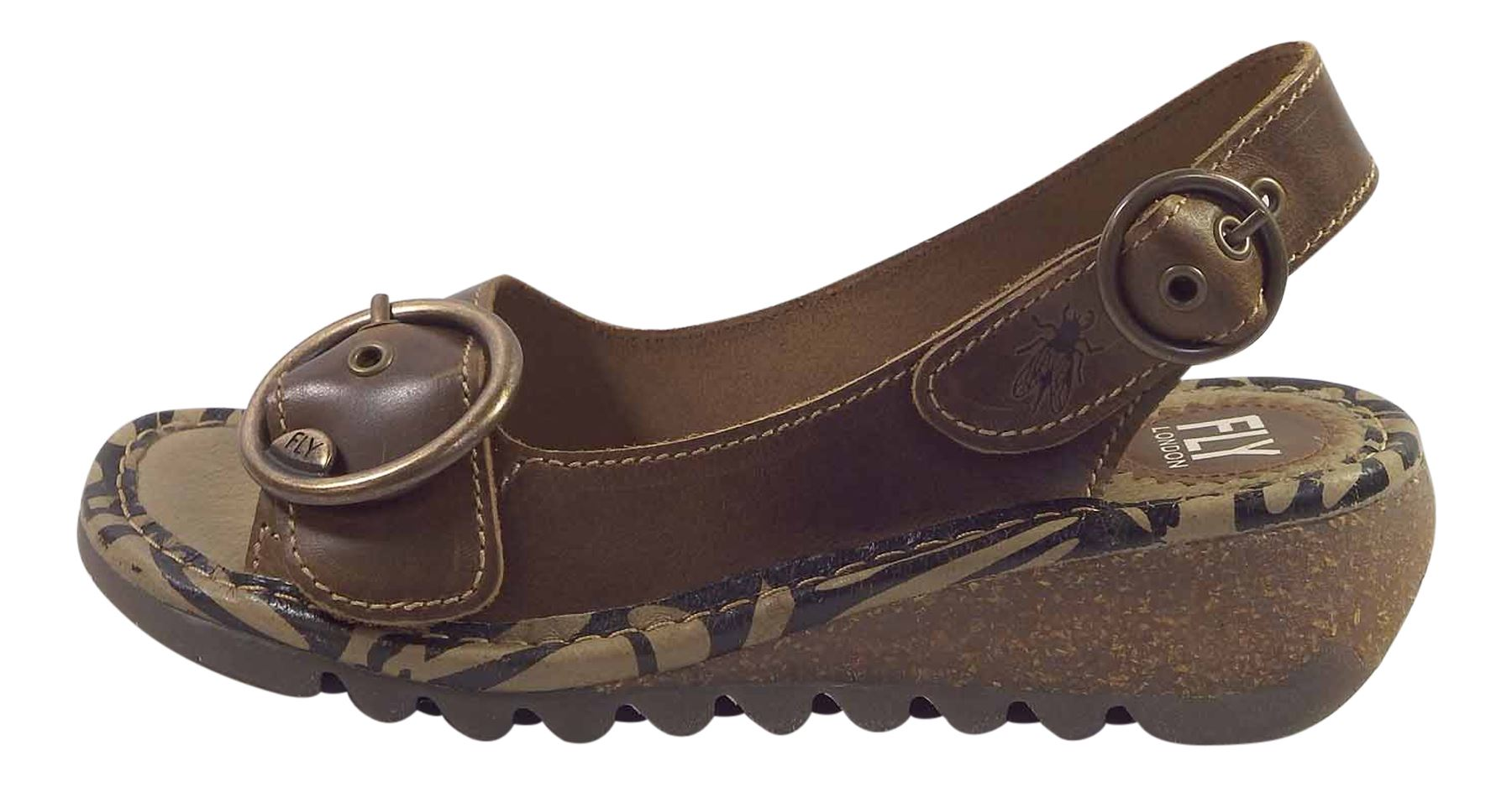 Fly-London-Ladies-TRAM723FLY-Lo-Wedge-Slingback-Summer-Sandals-Leather thumbnail 24