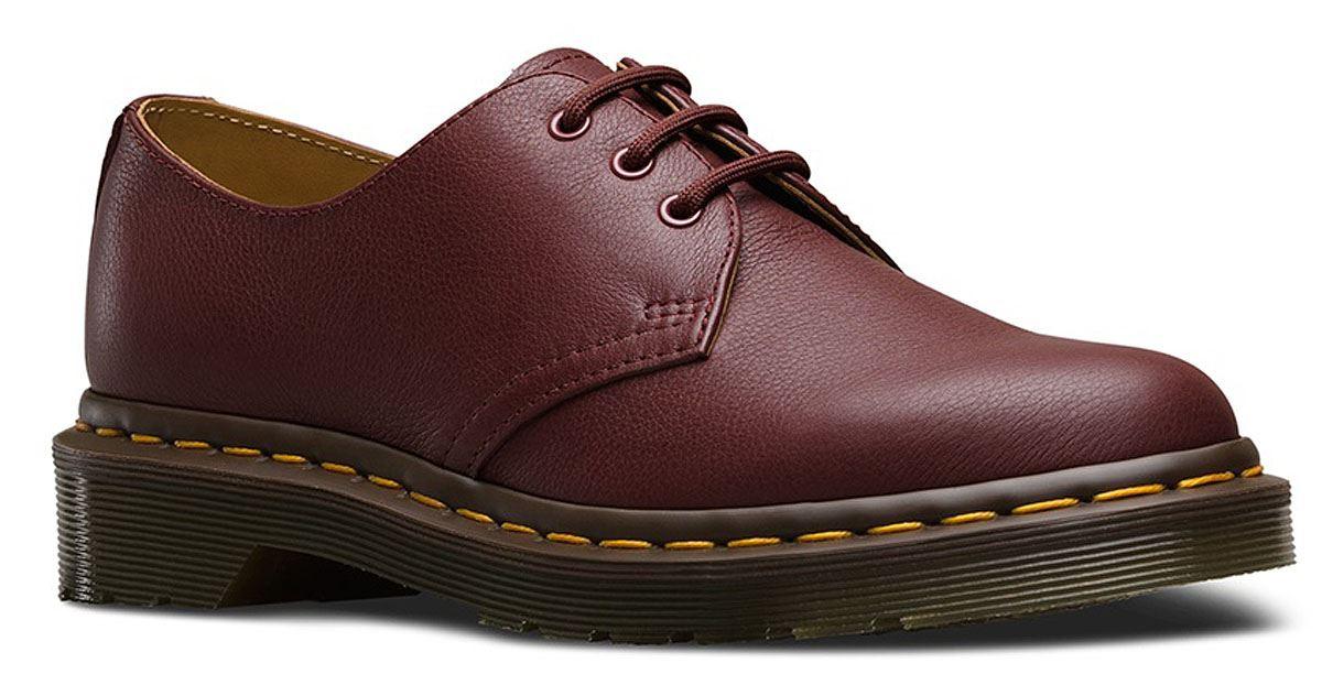 Dr.Martens Womens 1461 3 Eyelet Virginia Red Leather Shoes 41 EU SzUyZJlSA2