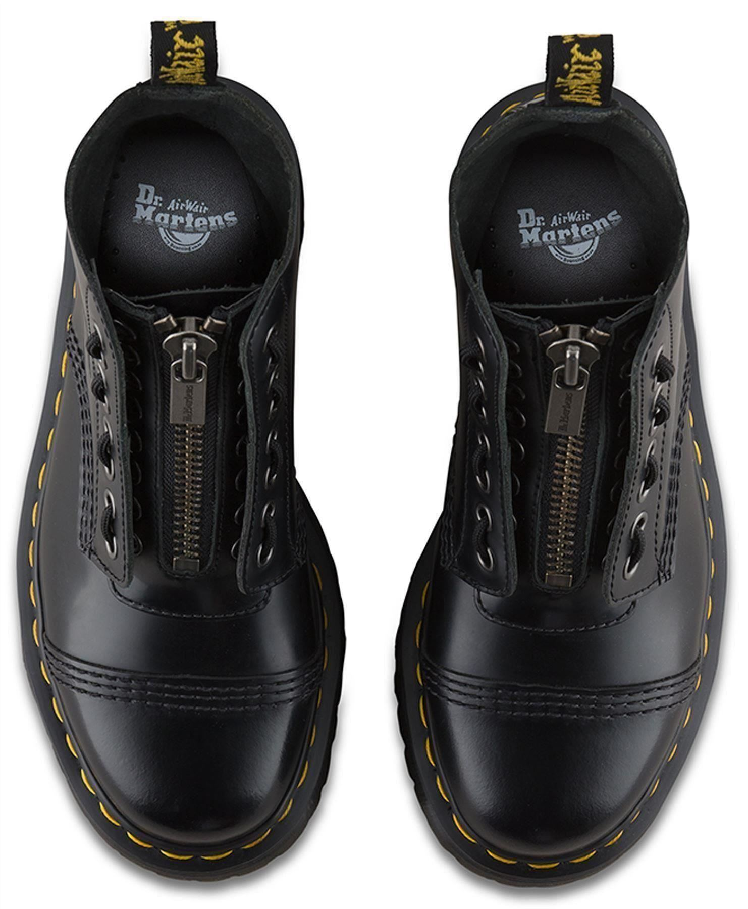 711c9810a4b90 Dr Martens Ladies Sinclair Black Polished Smooth Leather Front Zip ...