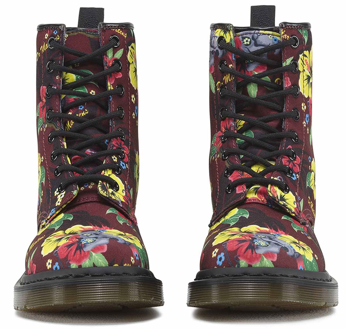 Dr-Martens-Castel-1460-Hawaiian-Punk-1980-039-s-Style-8-Eye-Canvas-Ankle-Boots