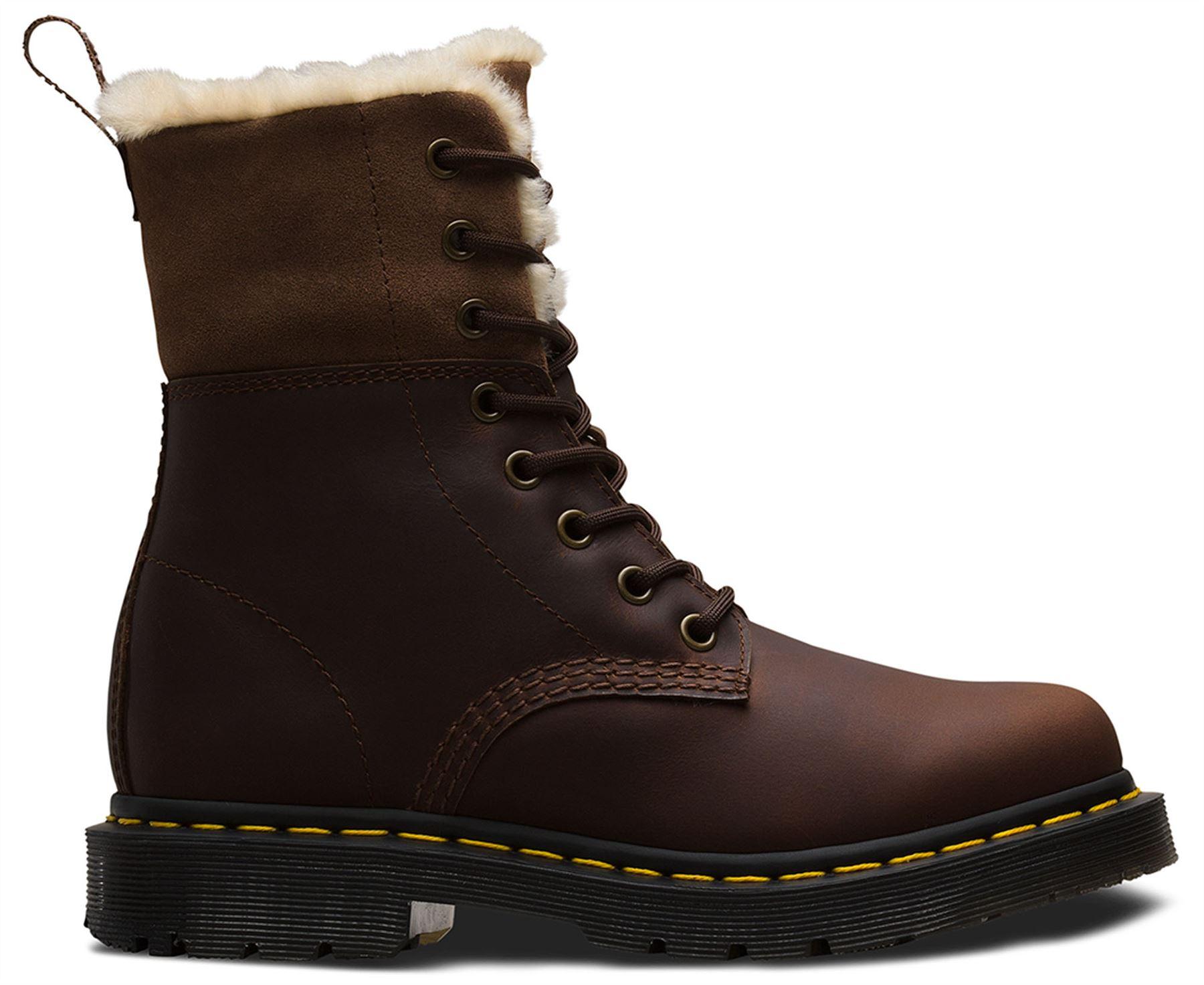 Dr Martens 1460 Kolbert Dark braun Water Resistant Snowplow Waxy Waxy Waxy Leather Stiefel 46890a