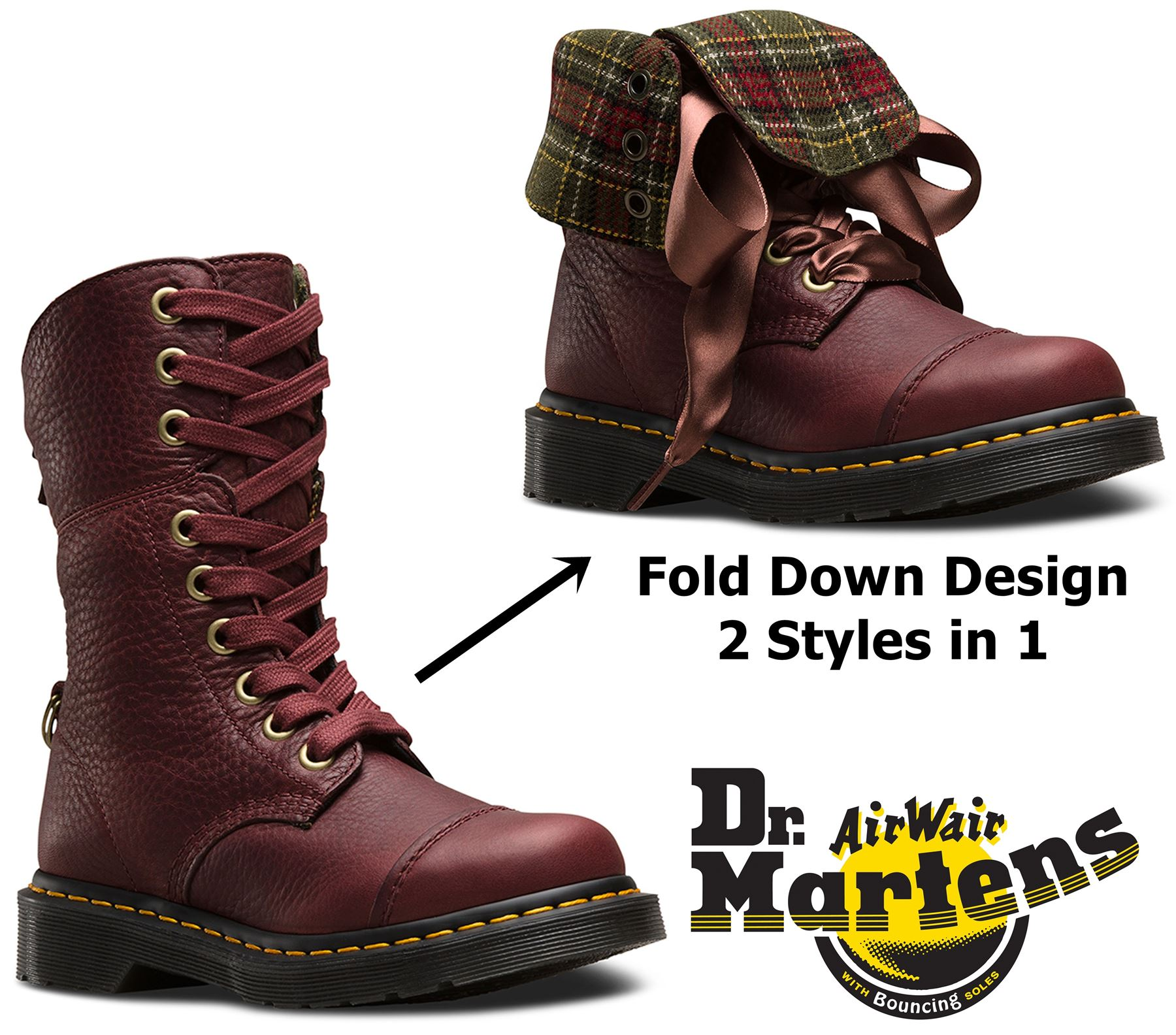 eaa05553ff4 DR MARTENS LADIES Aimilita 9 Eye Fold Down Cherry Red Grizzly Leather Boots