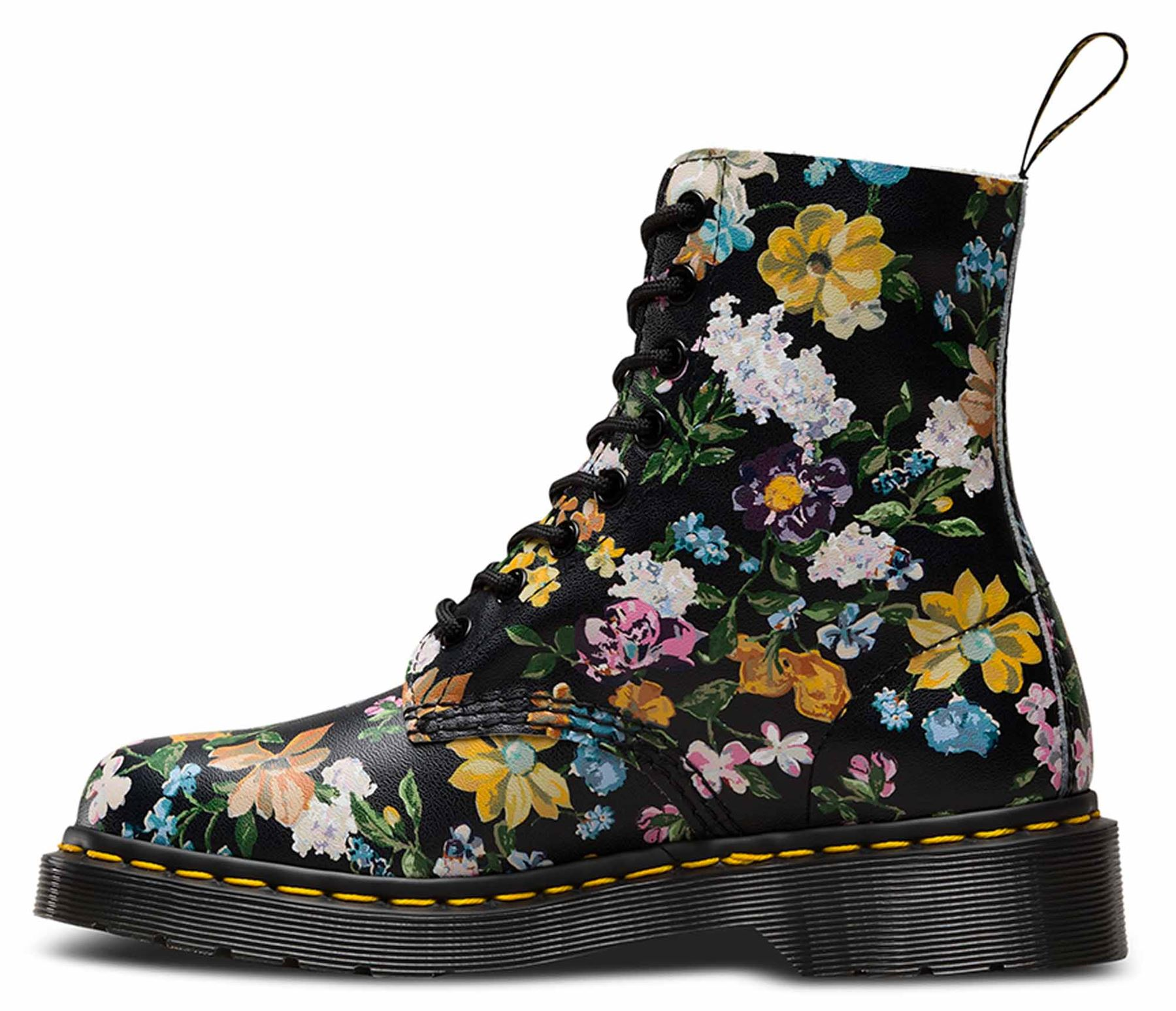 Dr Martens Ladies Pascal Darcy Floral Black Leather Flower Ankle Boots