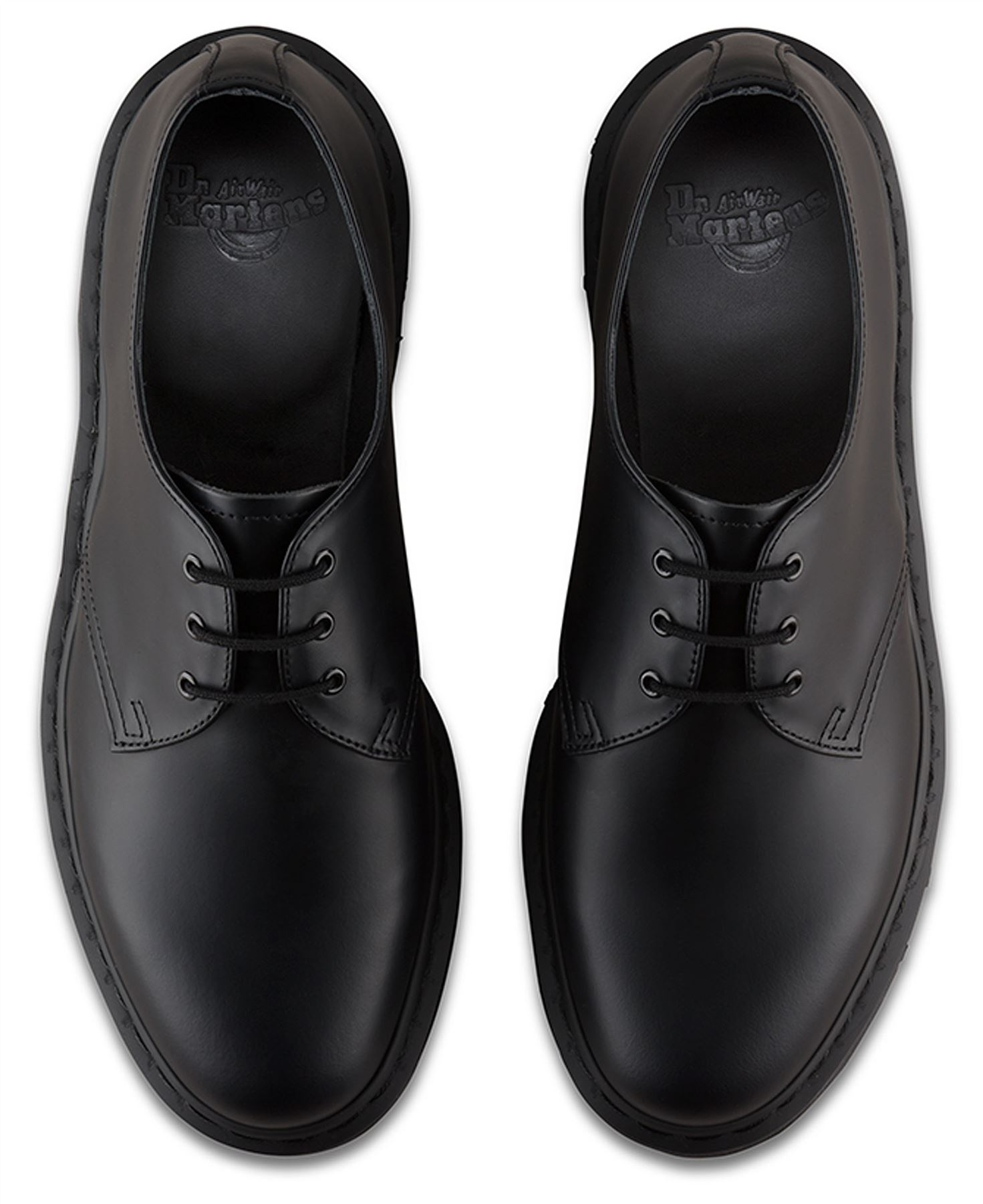8aee15a9f5428 Dr Martens Mens 1461 Black Mono Smooth Leather Shoes   eBay
