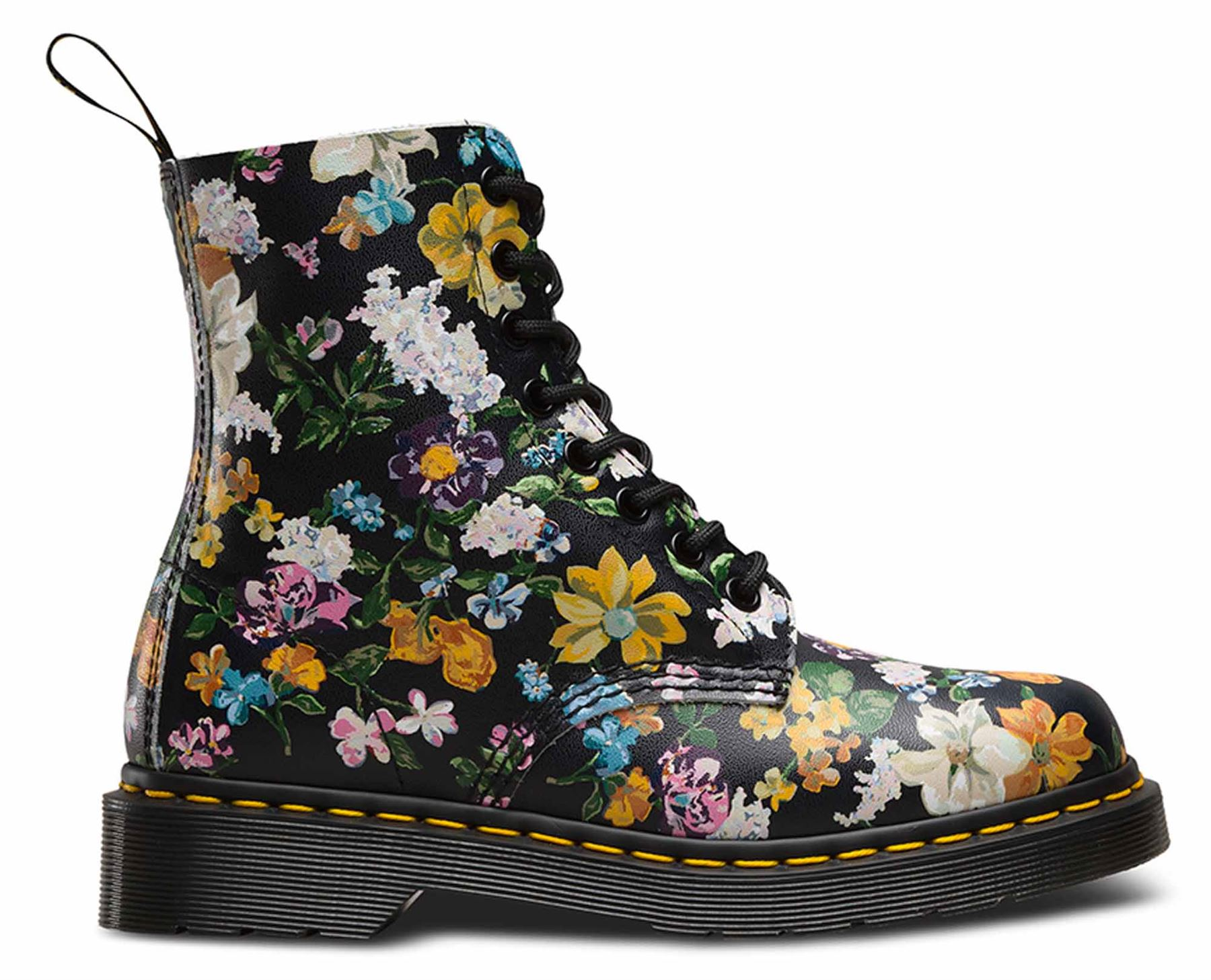dr martens ladies pascal darcy floral black leather flower ankle boots ebay. Black Bedroom Furniture Sets. Home Design Ideas