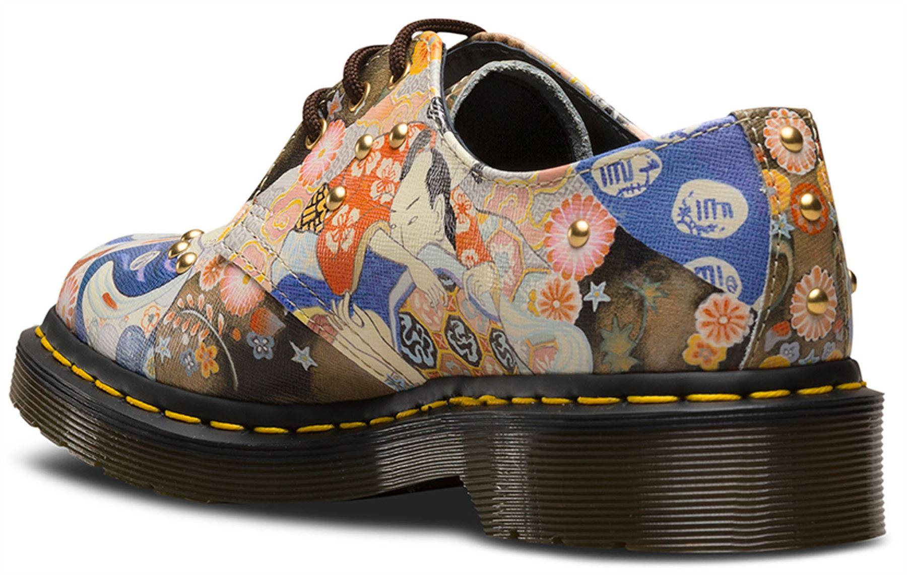 dr martens ladies 1461 ea oriental eastern art multi coloured leather shoes ebay. Black Bedroom Furniture Sets. Home Design Ideas