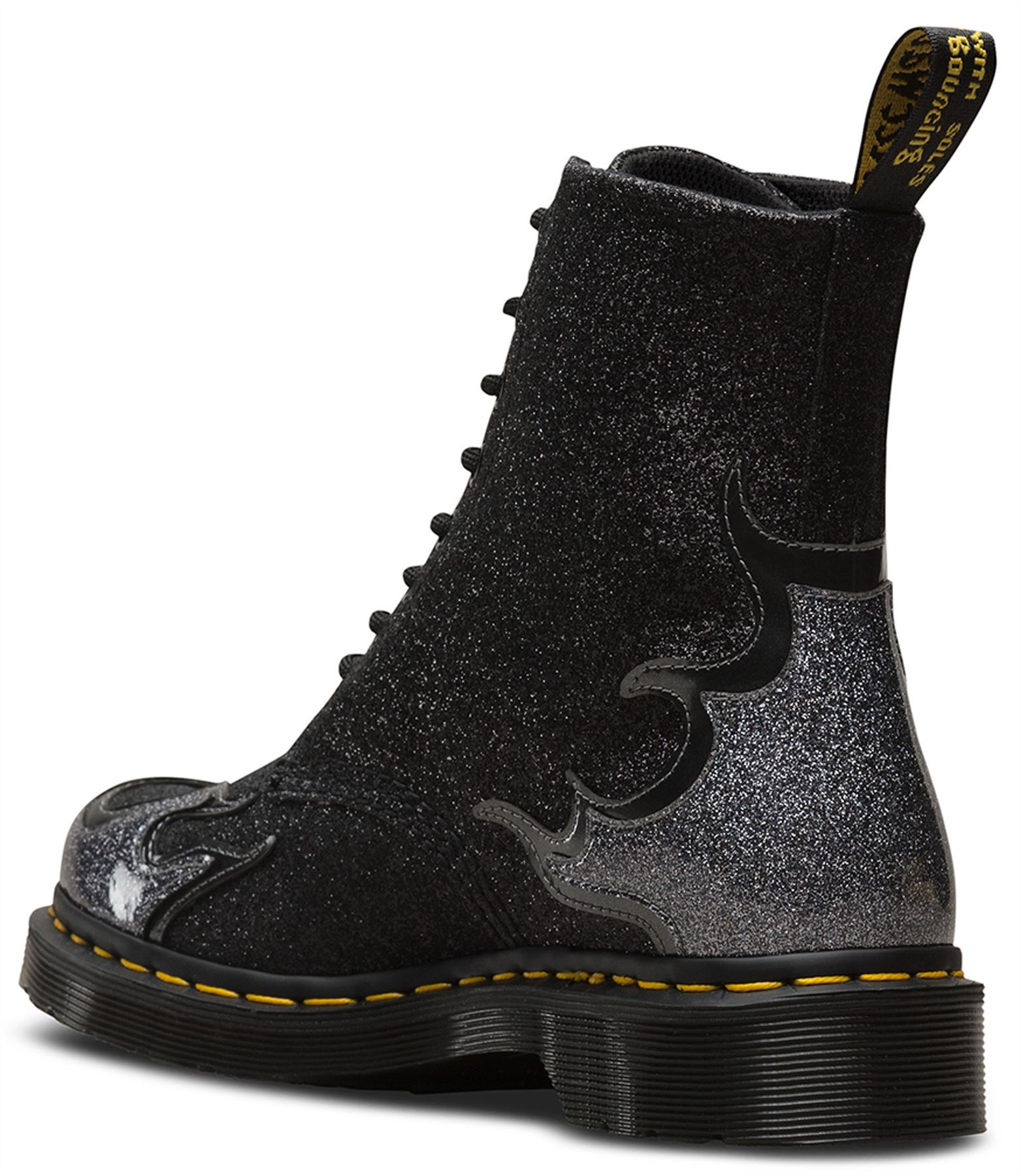 5bdeeadad70a Dr Martens Pascal 1460 Flaming Glitter Pewter Black Grey Rockabilly ...