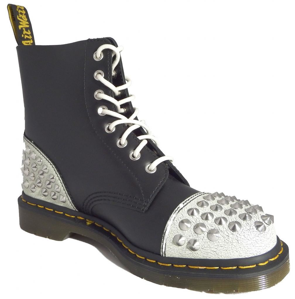 Dr White Doc Martens 1460 Dai White Dr Black Cristal Leather Boots 2a4a3a