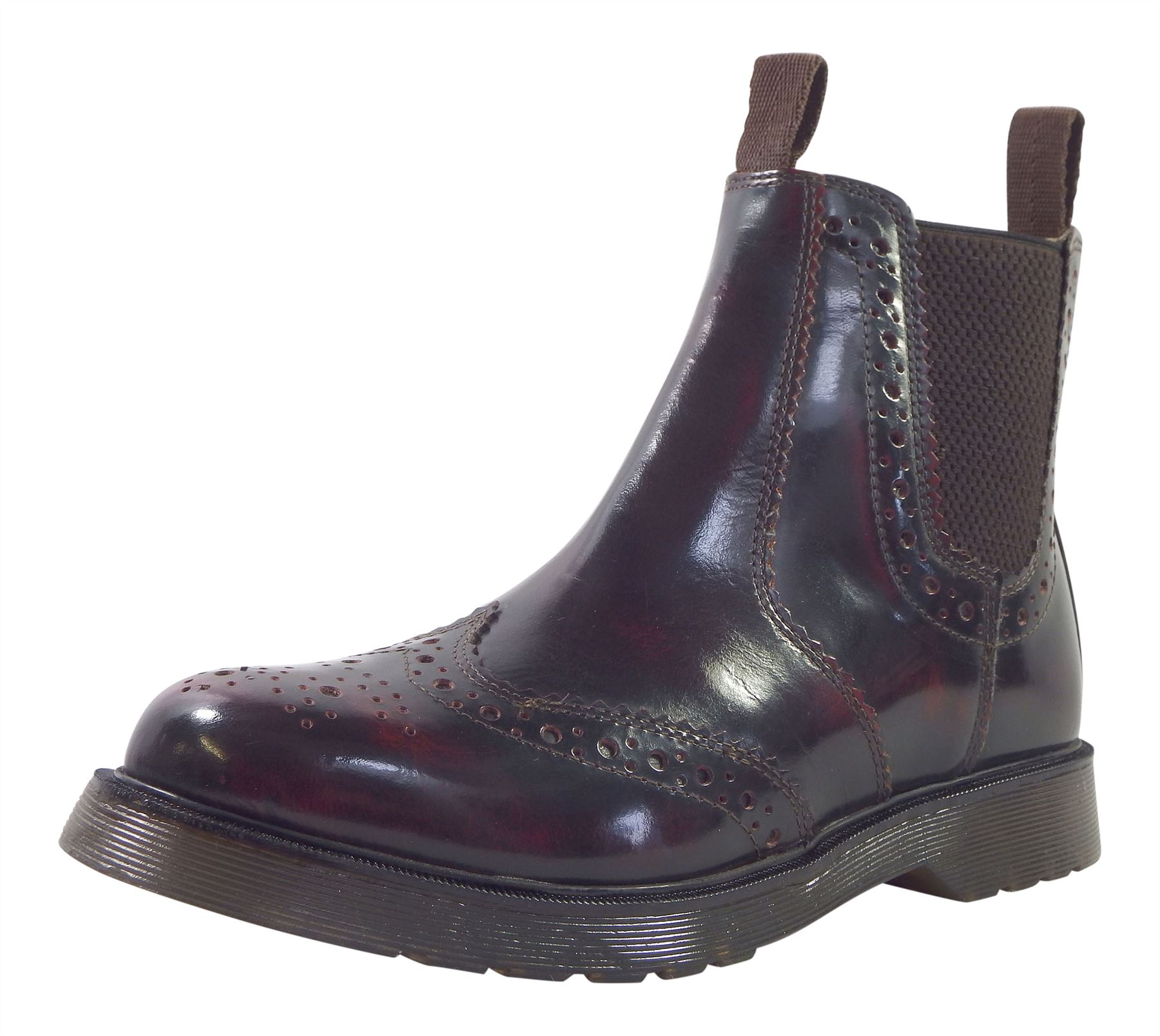 Premium Hi Shine Leather Brogue Optional Dealer Chelsea Boots + Optional Brogue Oxblood Polish 125df8