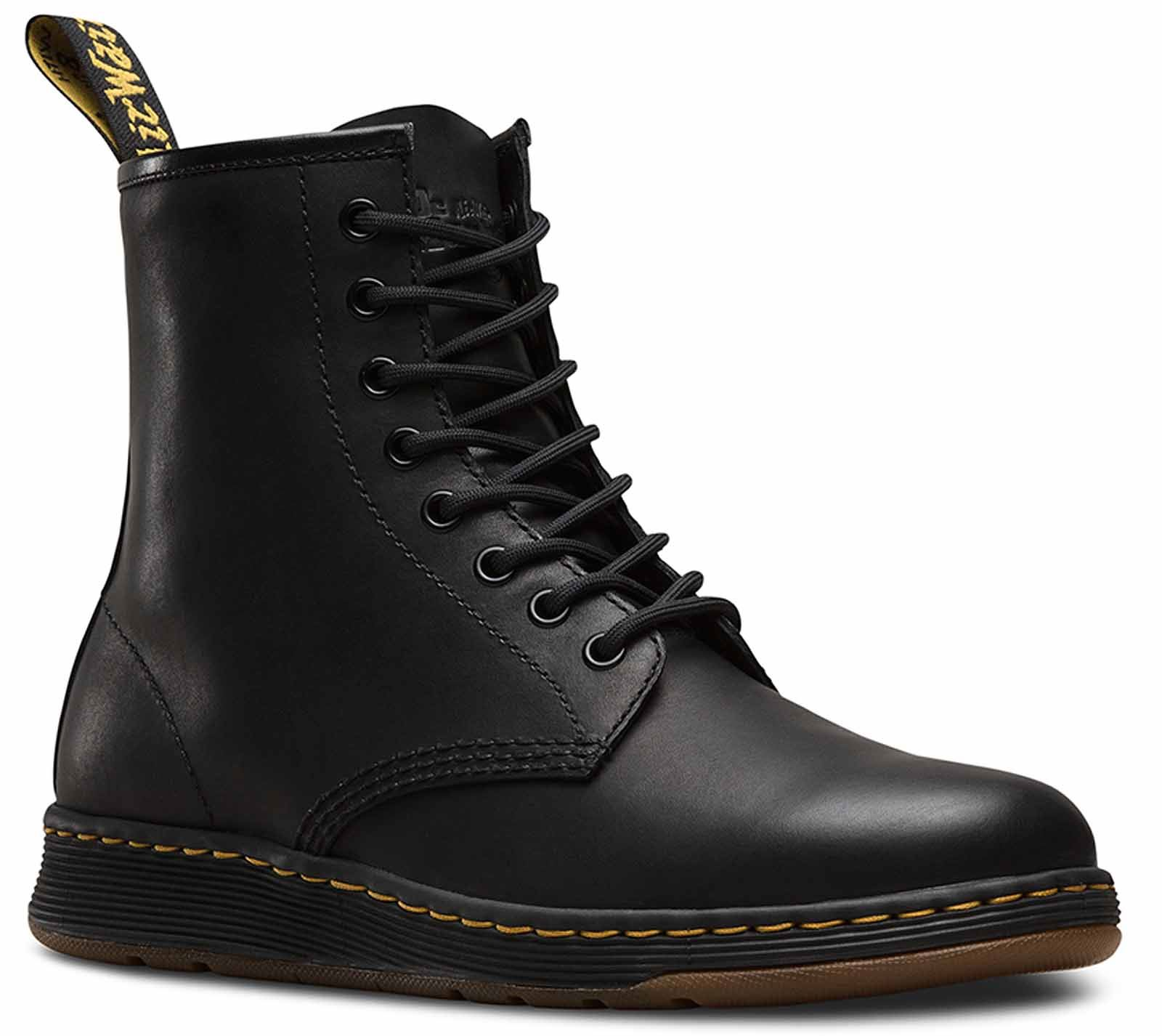 Dr. Martens Newton 8 Eye Boot Mens Black Leather Casual Lace up ...