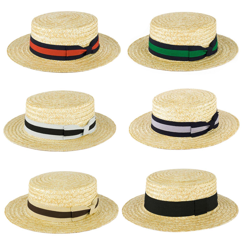 Mens Ladies Summer Handmade In Italy Classic Sailor Skimmer Straw Boater  Sun Hat 5f7361e121e