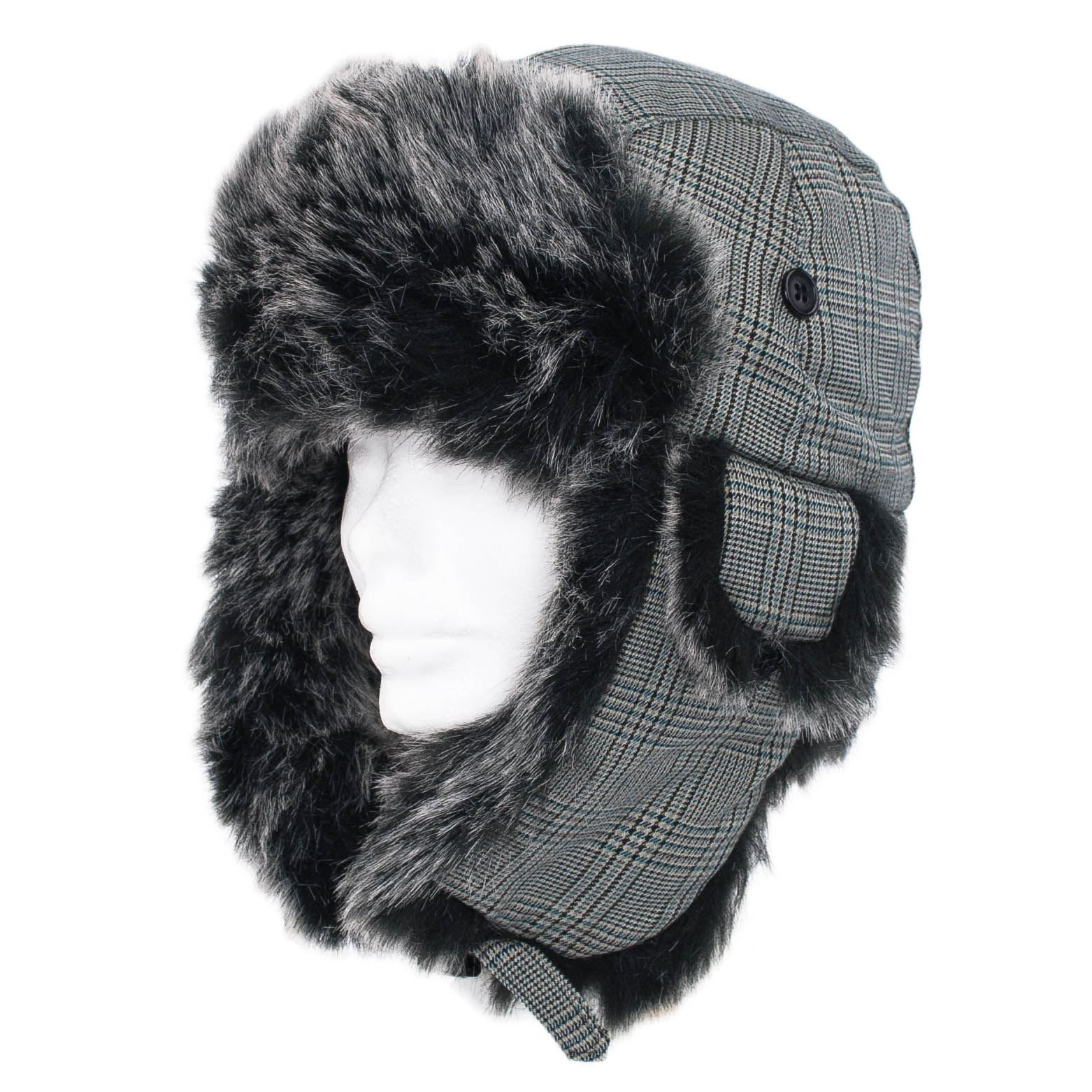 dbd441ecd65 Mens Ladies Faux Fur Aviator trapper Hat With Ear Flap Plugin Buckle ...
