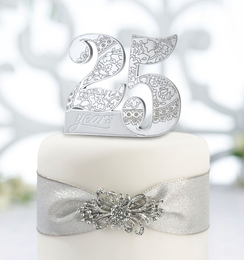 25th Silver Or 50th Golden Wedding Anniversary Cake