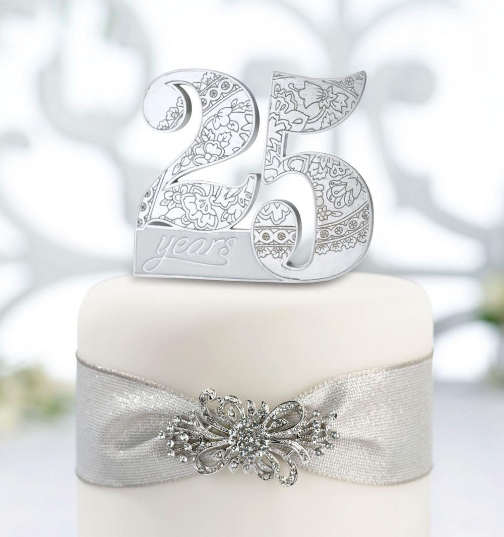 Silver Wedding Th Anniversary Cake Pick