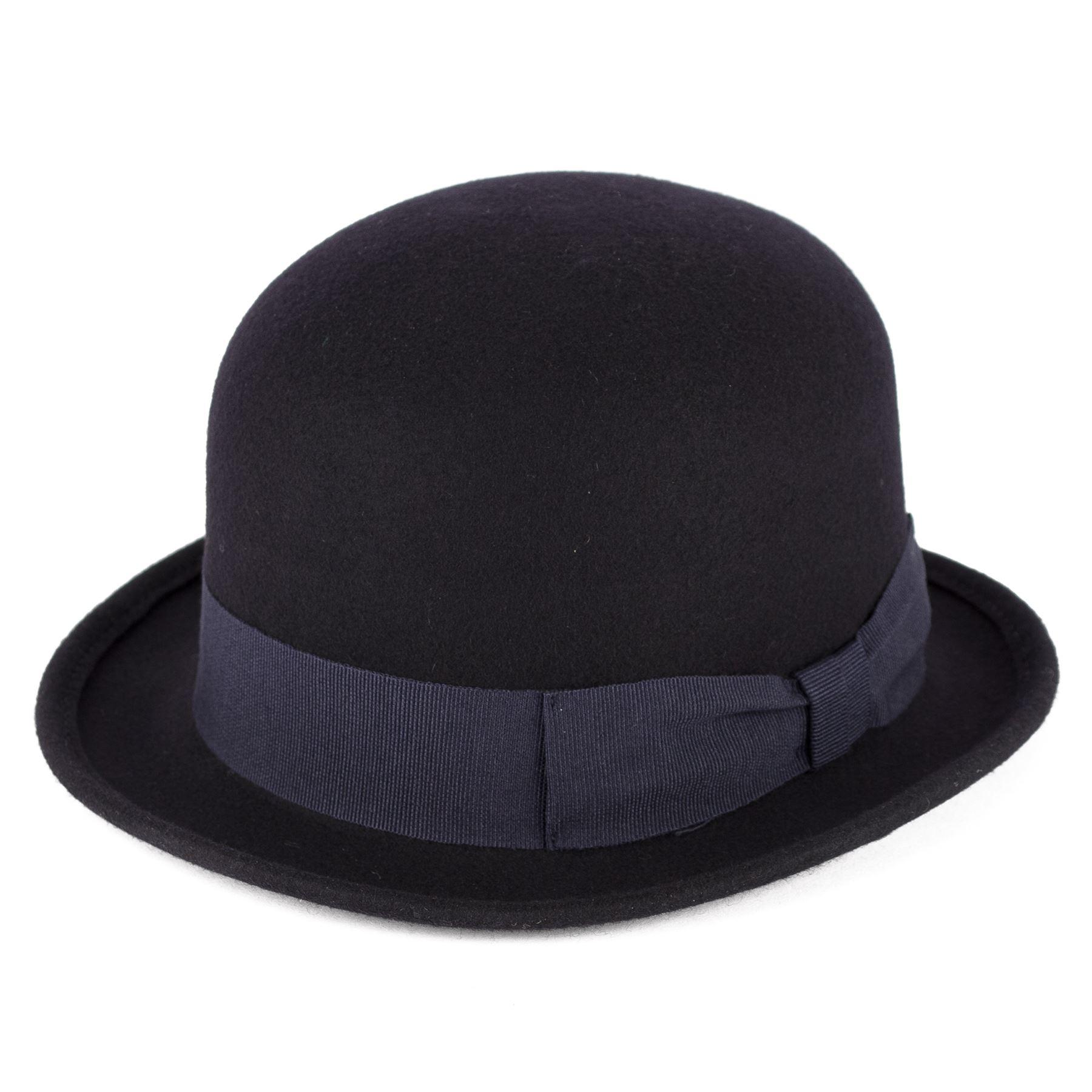 Herren-Damen-Vintage-Charlie-Chaplin-100-Wolle-Filz-Derby-Bowler-Unisex-Huete