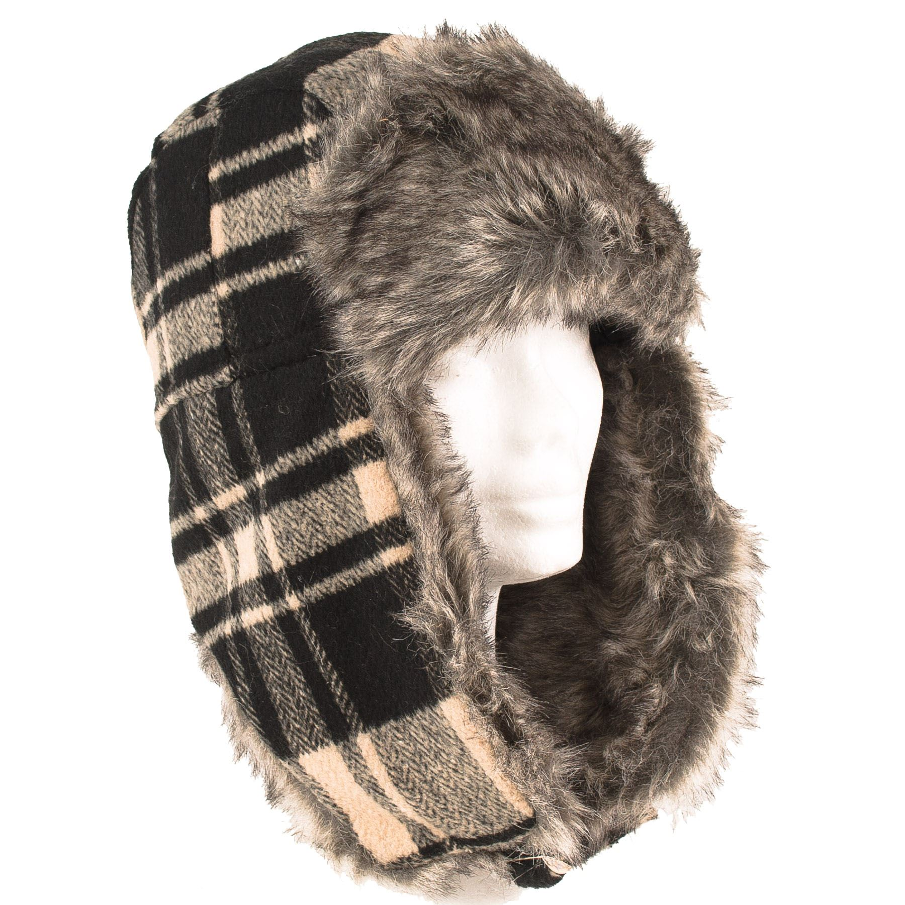 201fe48ec1562 Mens Ladies Trapper Aviator Tartan Checked Russian Ushanka Winter Hat Flaps  Black (s-m) 4670. About this product. Picture 1 of 2  Picture 2 of 2