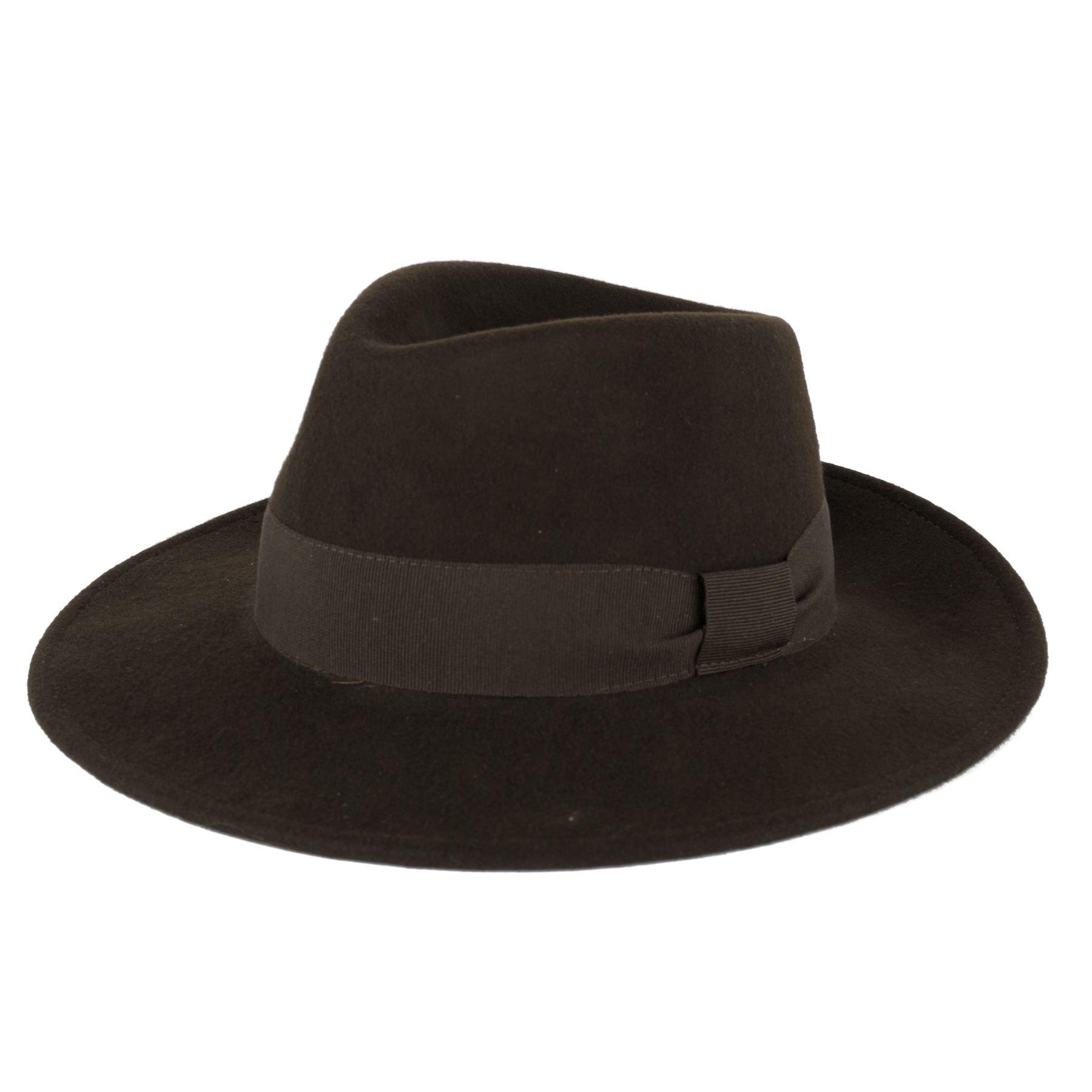 Mens-Ladies-100-lana-hecha-a-mano-Italia-Fedora-sombrero-con-banda-de-Grosgrain
