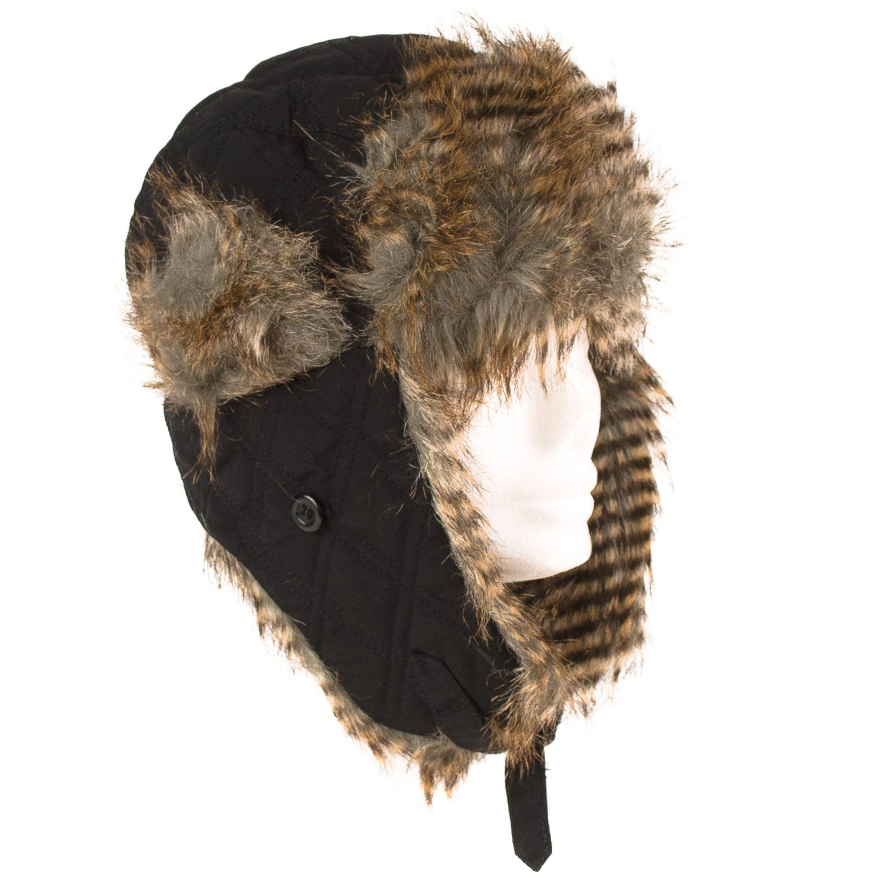 Faux Fur Aviator/Trapper Flap Hat Plain With Ear Flap Aviator/Trapper Purse Lock Buckle 0672b3