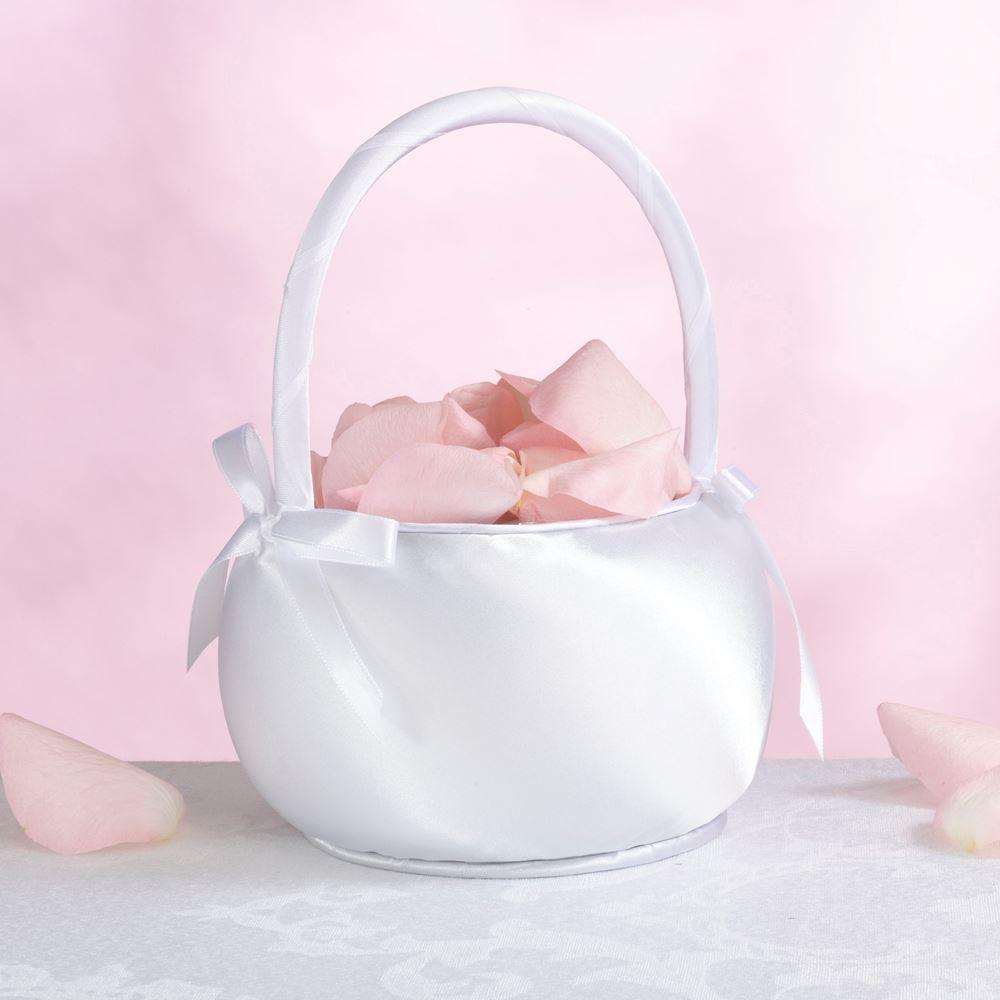 Satin Bride Bridesmaid Wedding Bouquet Flower Girl Baskets White 1