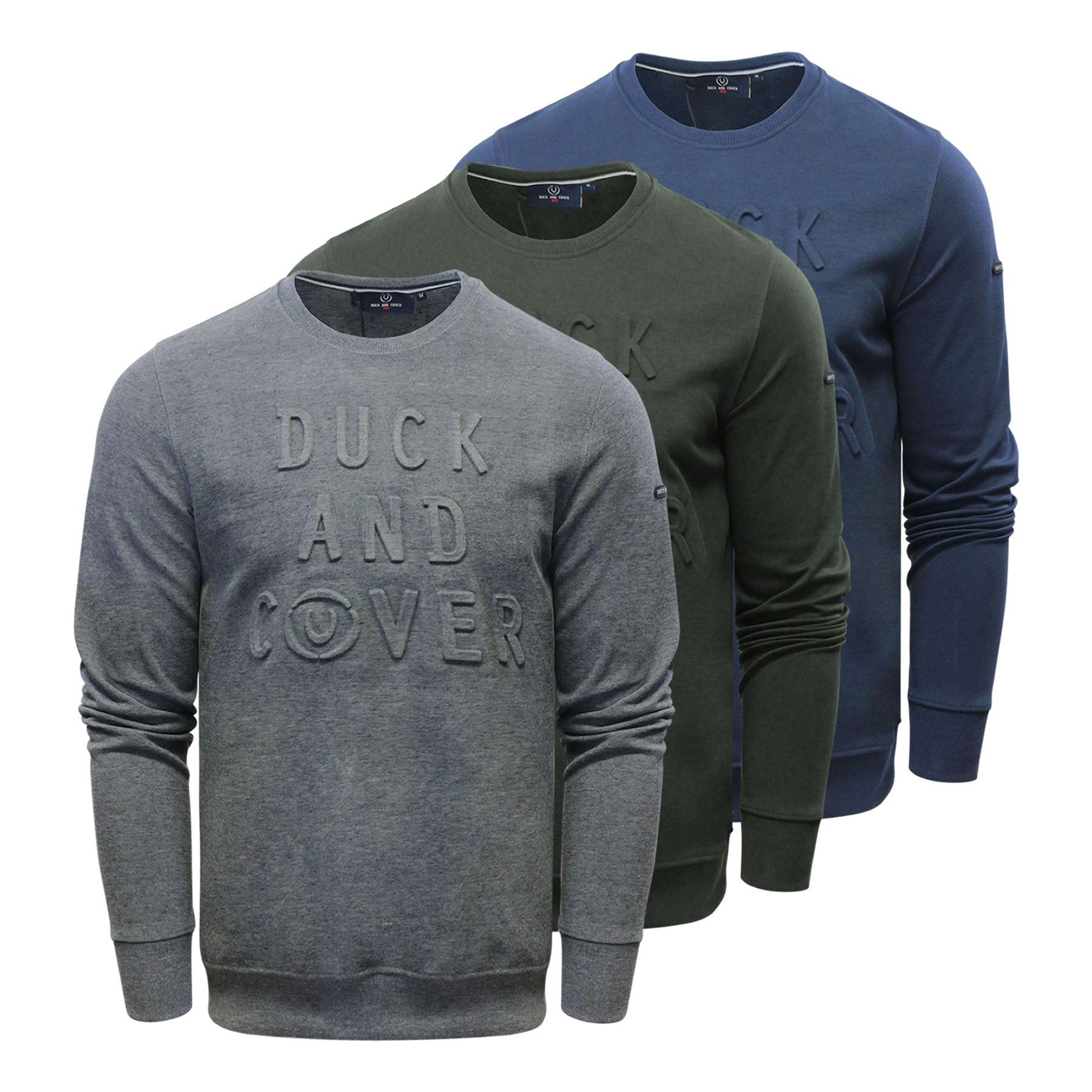 737c8e91e48f Duck   Cover Linden Mens Sweatshirt Embossed Graphic Pull Over Crew Neck  Sweater