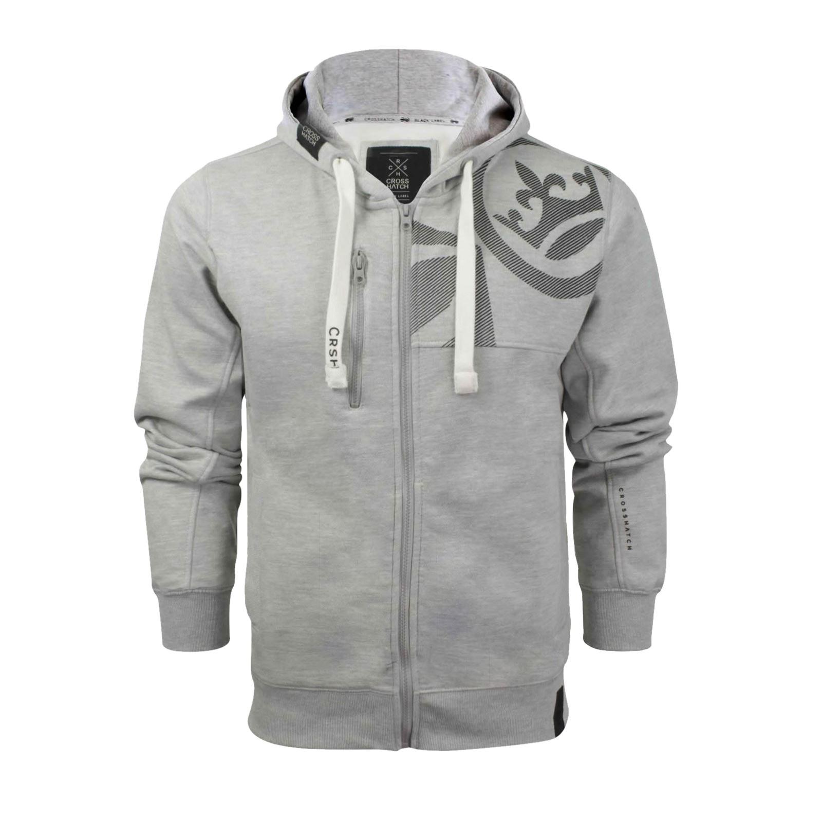 Mens-Hoodie-Crosshatch-Ribbler-Zip-Up-Hooded-Jacket-Pullover-Jumper-Sweatershirt thumbnail 29