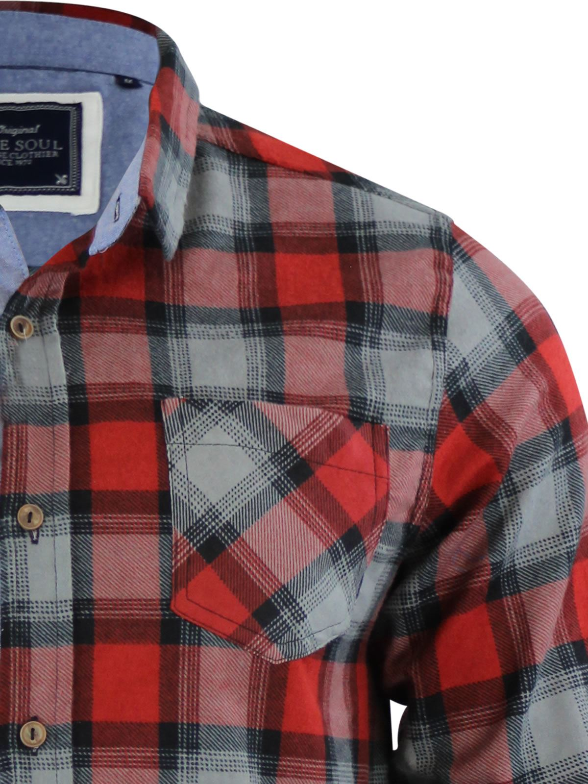 Mens-Check-Shirt-Brave-Soul-Flannel-Brushed-Cotton-Long-Sleeve-Casual-Top thumbnail 43
