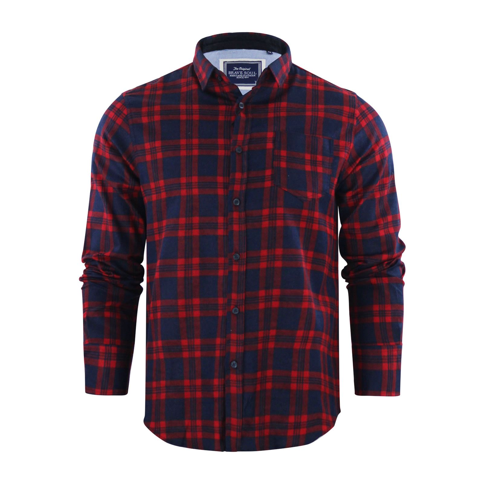 Brave-Soul-Mens-Check-Shirt-Flannel-Brushed-Cotton-Long-Sleeve-Casual-Top thumbnail 75