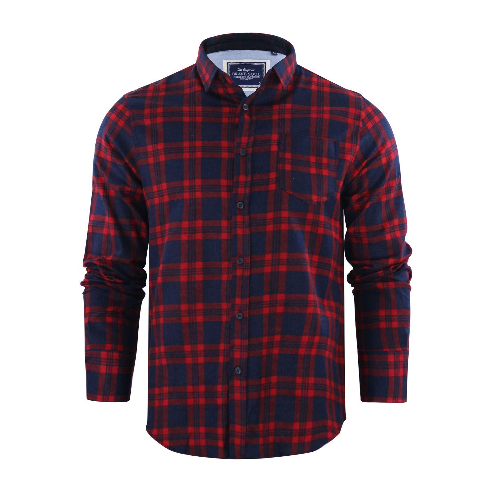 Alma-VALIENTE-HOMBRE-compruebe-Camisa-Algodon-Cepillado-De-Franela-Top-Manga-Larga-Casual miniatura 75