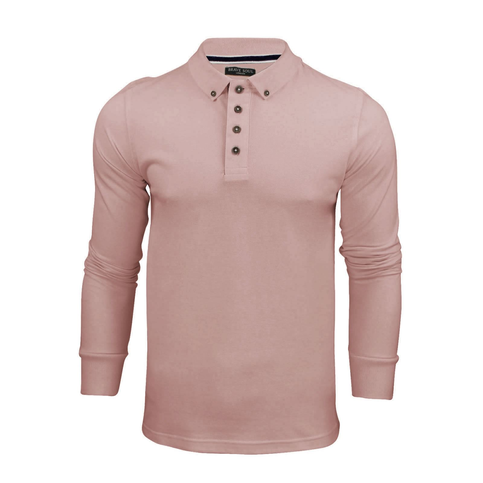 Brave-Soul-Lincoln-Homme-Polo-Shirt-a-Manches-Longues-En-Coton-Pique-Top-Casual miniature 22