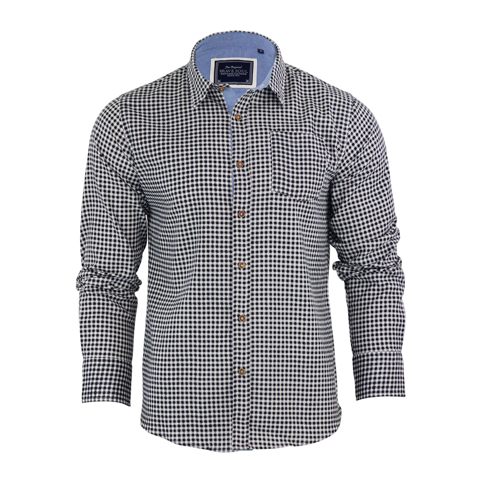 Brave-Soul-Mens-Check-Shirt-Flannel-Brushed-Cotton-Long-Sleeve-Casual-Top thumbnail 10