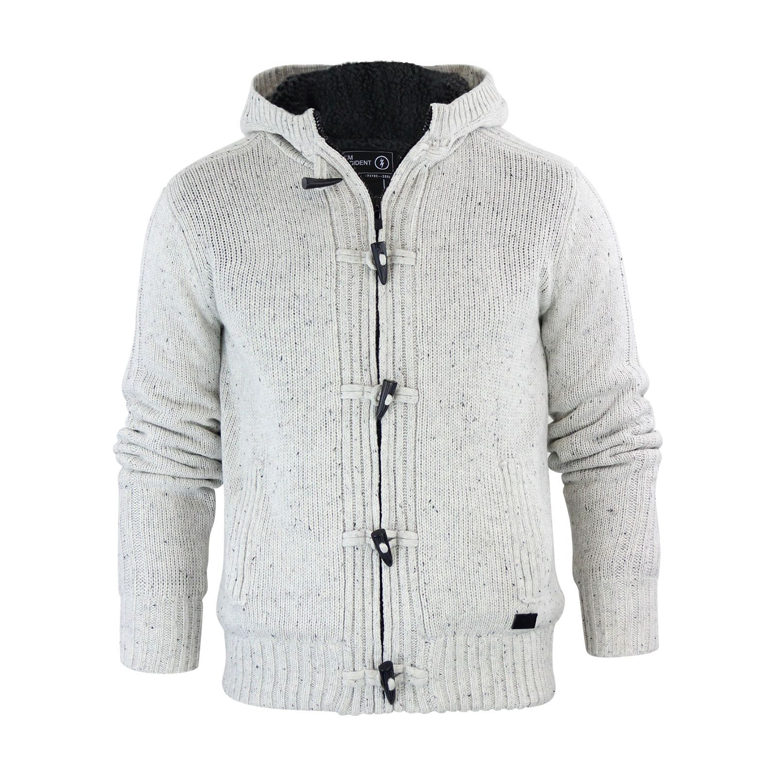 Dissident Falkirk Mens Cardigan Jumper Hooded Sherpa Fleece Lined Zip Up  Jacket; Picture 2 of 4 ...
