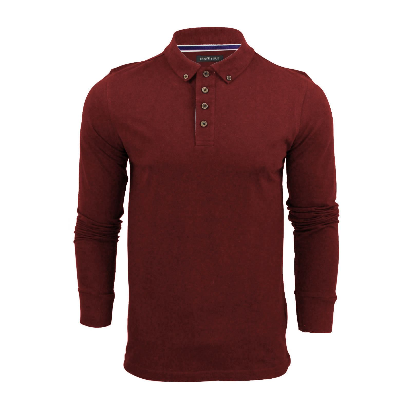 Brave-Soul-Lincoln-Homme-Polo-Shirt-a-Manches-Longues-En-Coton-Pique-Top-Casual miniature 24
