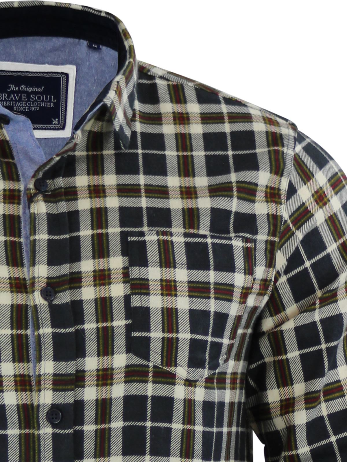 Mens-Check-Shirt-Brave-Soul-Flannel-Brushed-Cotton-Long-Sleeve-Casual-Top thumbnail 46