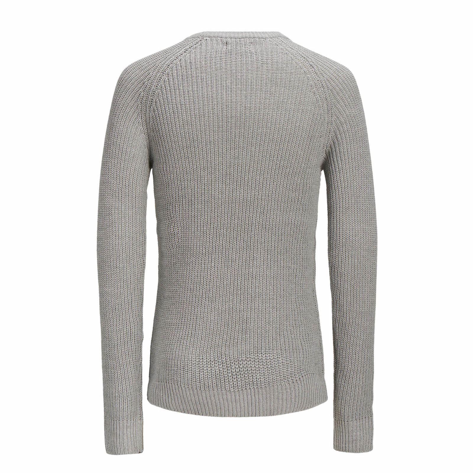 Jack-amp-Jones-Panneau-Pull-homme-a-encolure-ras-du-cou-Long-Tricot-Pull-Over-Sweater miniature 3