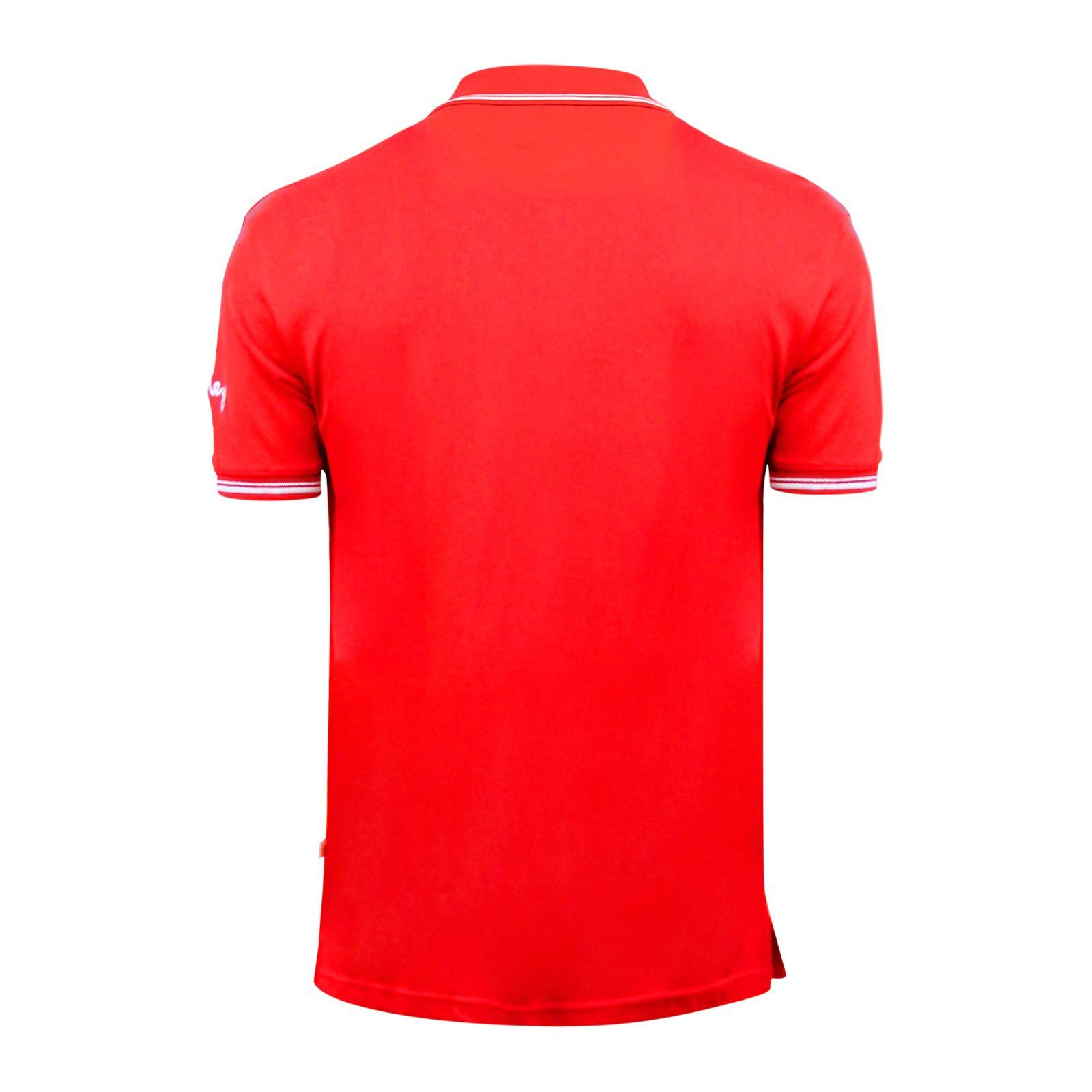 Argent-Comp-pour-Homme-Polo-Shirt-a-Manches-Courtes-en-Coton-Col-Haut-Decontracte miniature 3