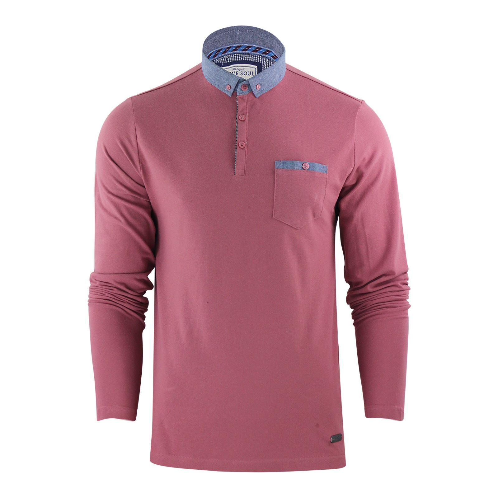 thumbnail 20 - Mens-Polo-T-Shirt-Brave-Soul-Hera-Cotton-Long-Sleeve-Casual-Top