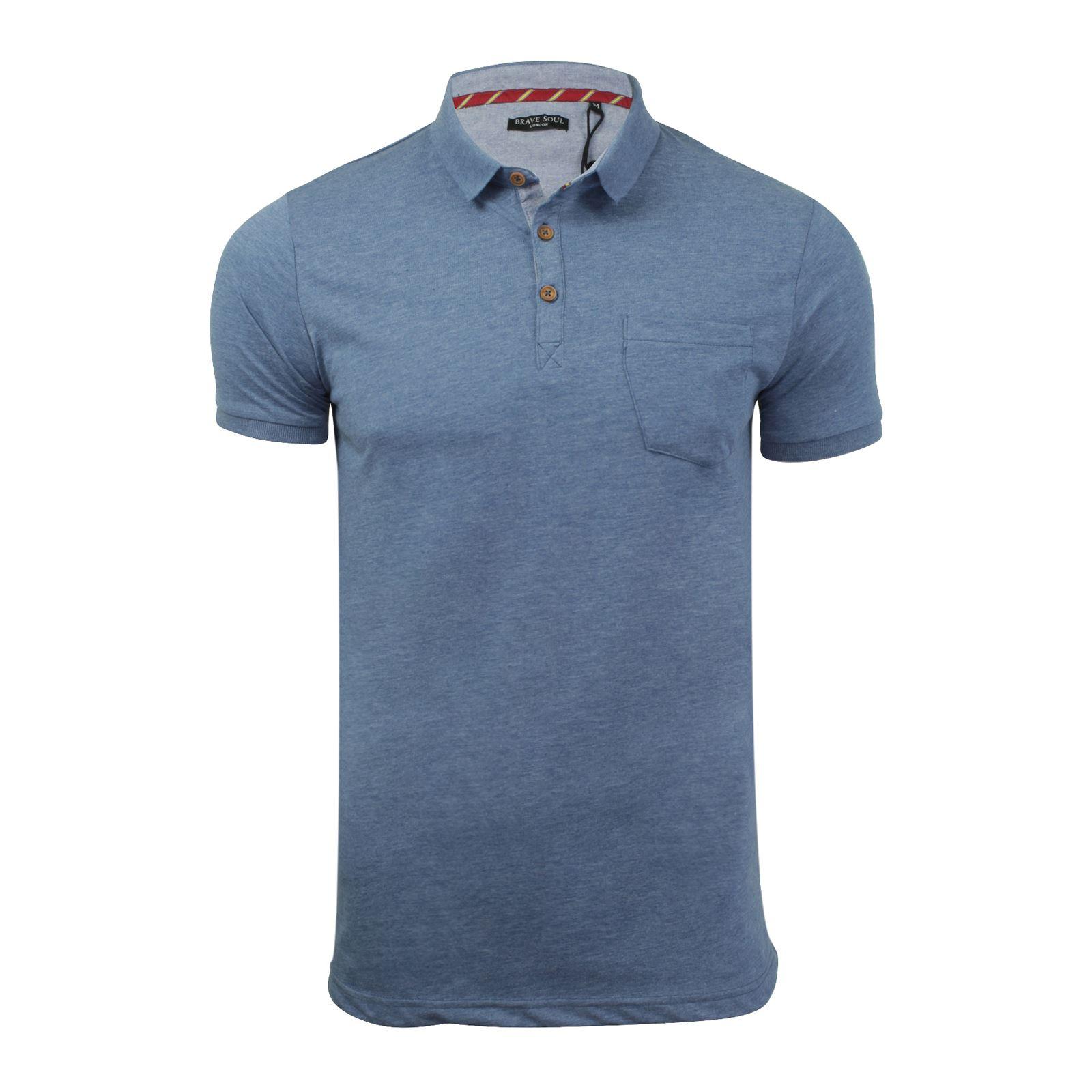 Brave-Soul-Glover-Homme-Polo-T-Shirt-En-Coton-A-Col-Manches-Courtes-Haut-Decontracte miniature 67