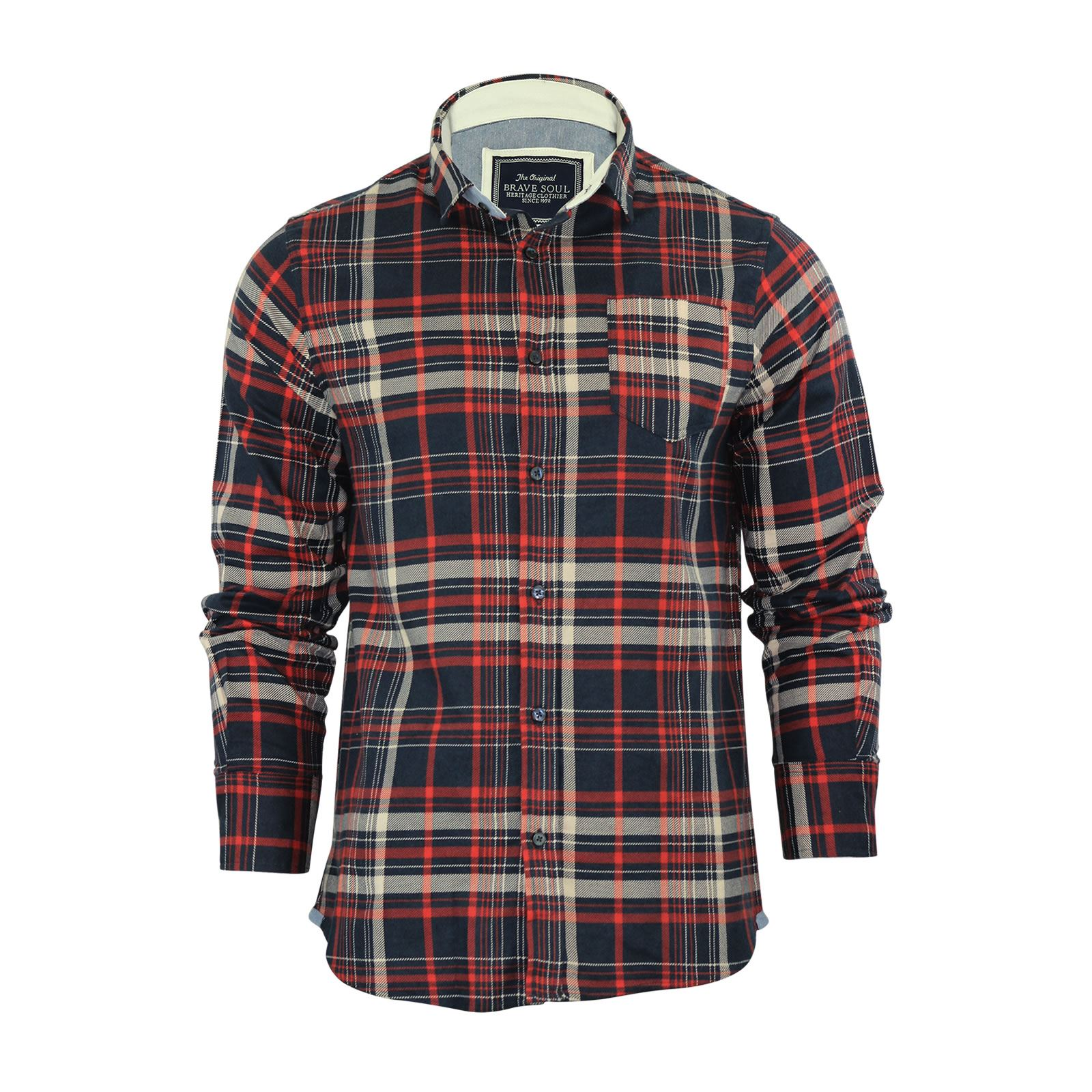 Brave-Soul-Mens-Check-Shirt-Flannel-Brushed-Cotton-Long-Sleeve-Casual-Top thumbnail 93