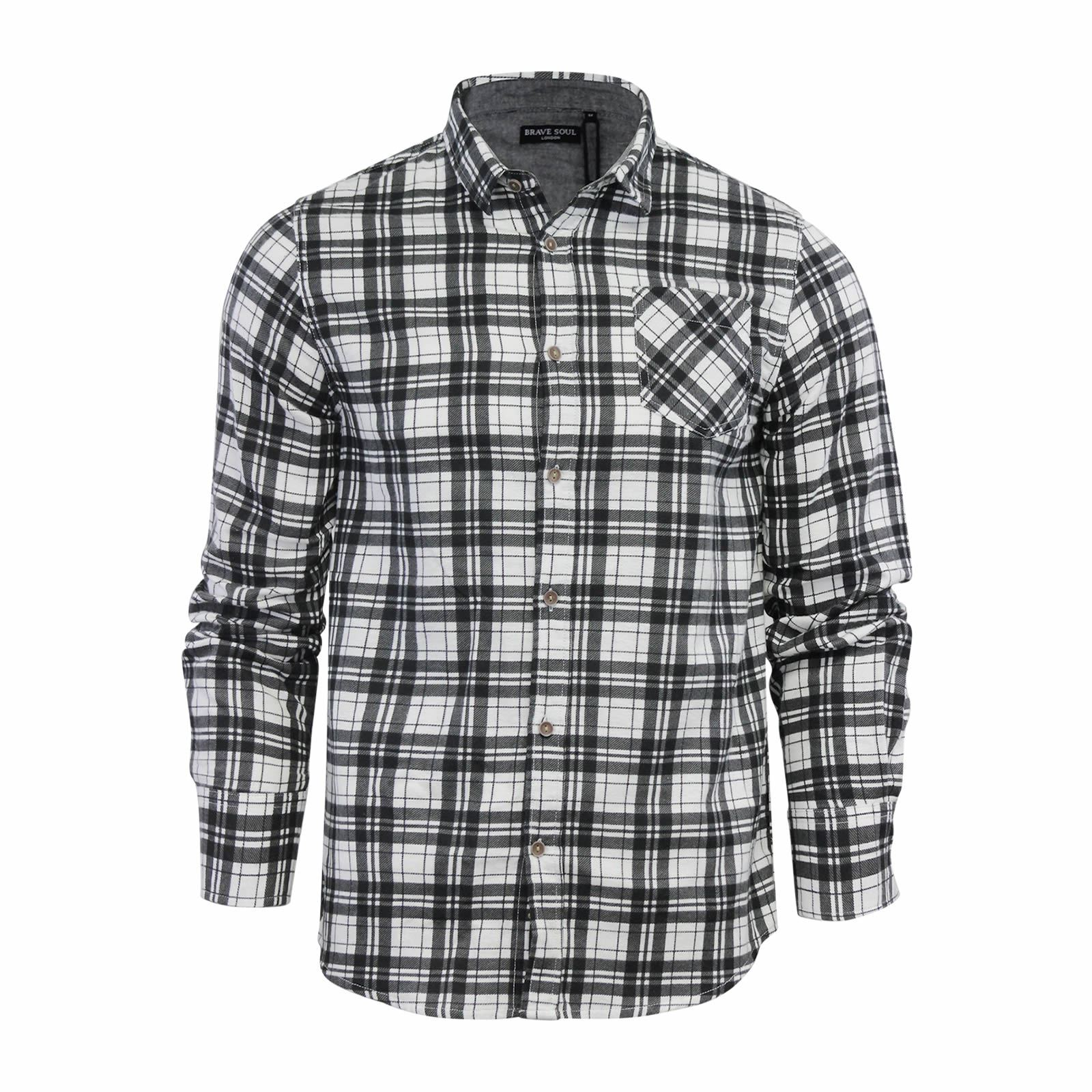 Brave-Soul-Mens-Check-Shirt-Flannel-Brushed-Cotton-Long-Sleeve-Casual-Top thumbnail 85