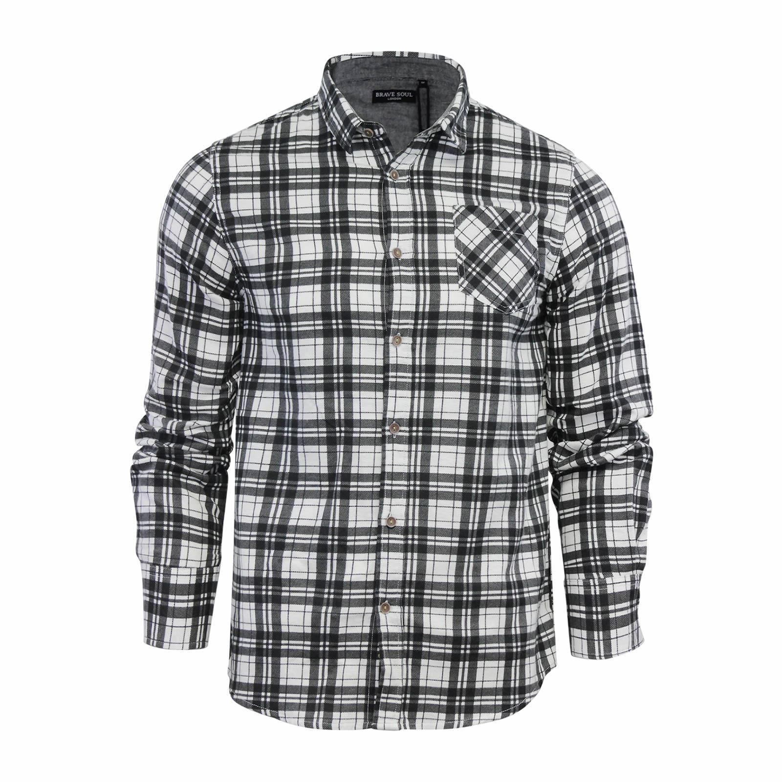 Alma-VALIENTE-HOMBRE-compruebe-Camisa-Algodon-Cepillado-De-Franela-Top-Manga-Larga-Casual miniatura 85
