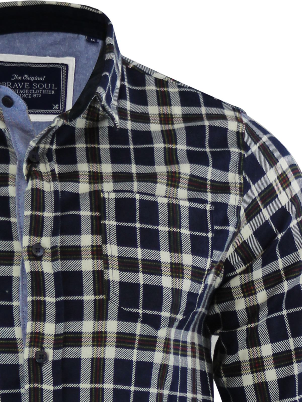 Mens-Check-Shirt-Brave-Soul-Flannel-Brushed-Cotton-Long-Sleeve-Casual-Top thumbnail 49