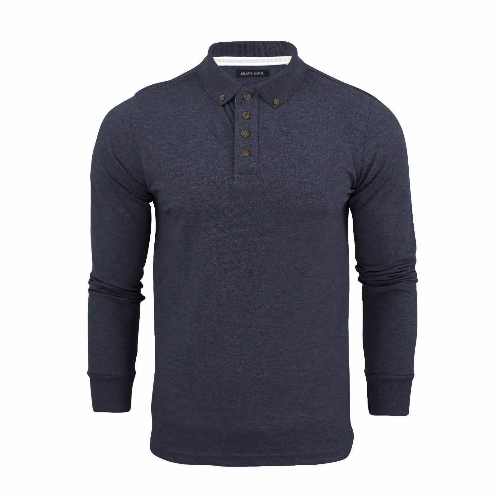 Brave-Soul-Lincoln-Homme-Polo-Shirt-a-Manches-Longues-En-Coton-Pique-Top-Casual miniature 44