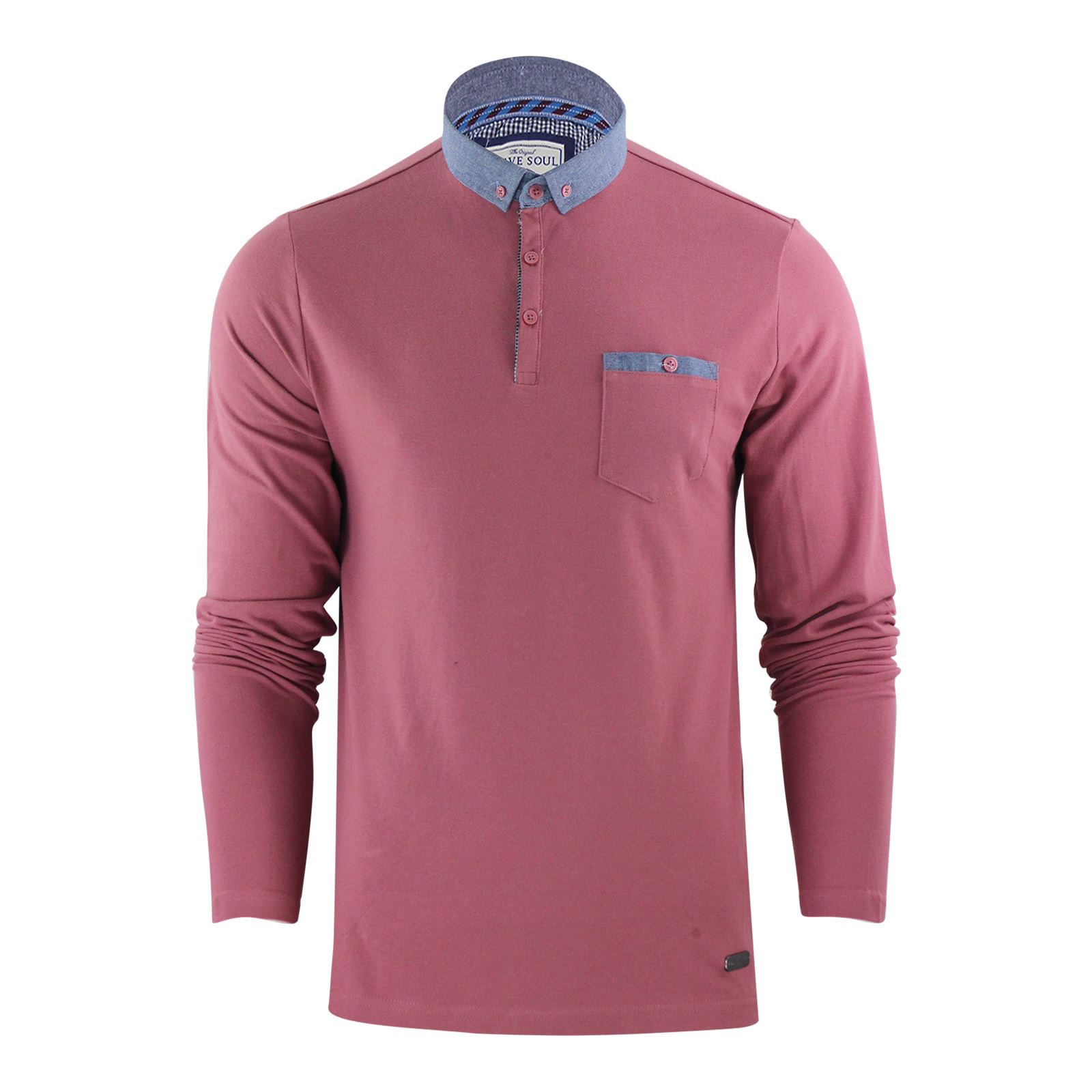 thumbnail 14 - Mens-Polo-T-Shirt-Brave-Soul-Hera-Cotton-Long-Sleeve-Casual-Top