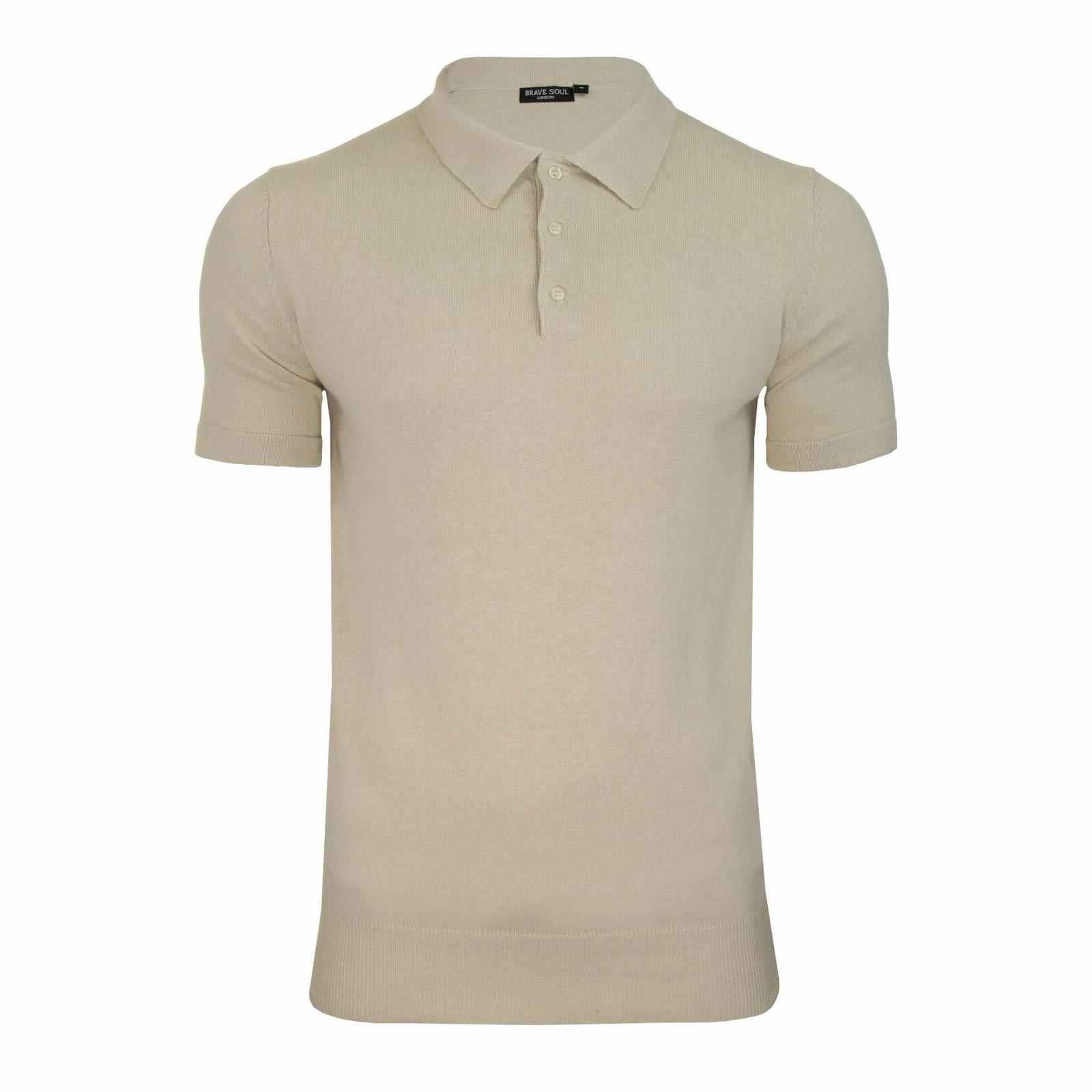 Mens-Knitted-Polo-Brave-Soul-Columbus-Collared-Short-Sleeve-Jumper-T-Shirt thumbnail 8