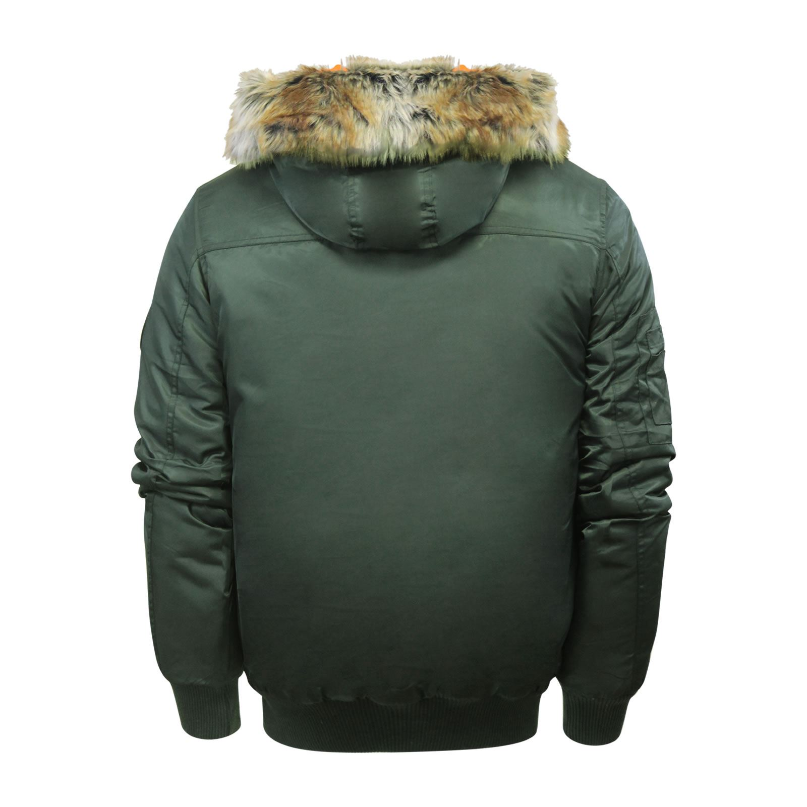 Crosshatch Newbomb Mens Jacket Fur Hooded Bomber Parka Coat Ebay