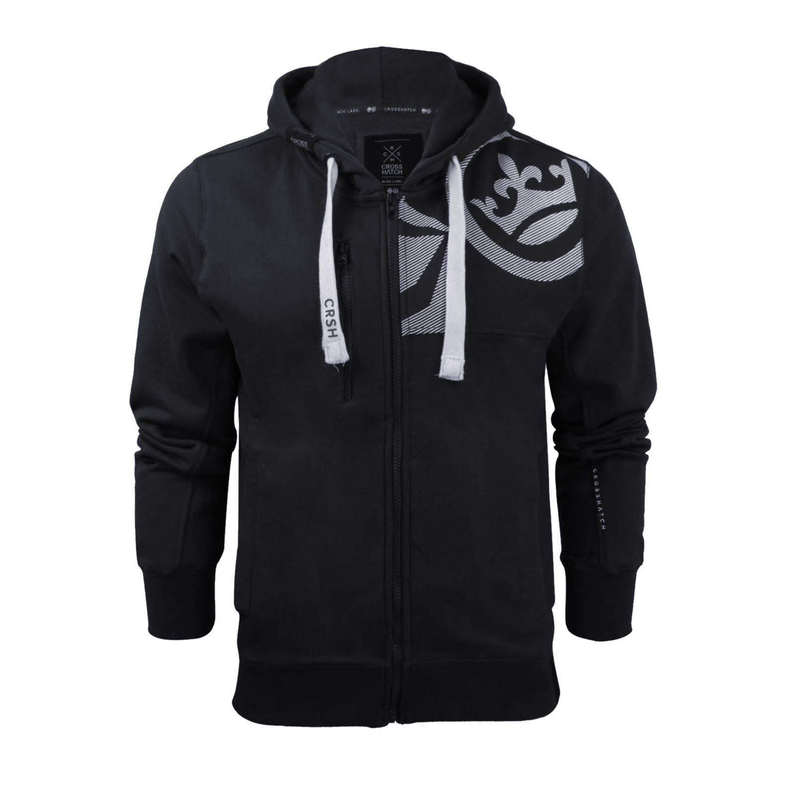 Mens-Hoodie-Crosshatch-Ribbler-Zip-Up-Hooded-Jacket-Pullover-Jumper-Sweatershirt thumbnail 32